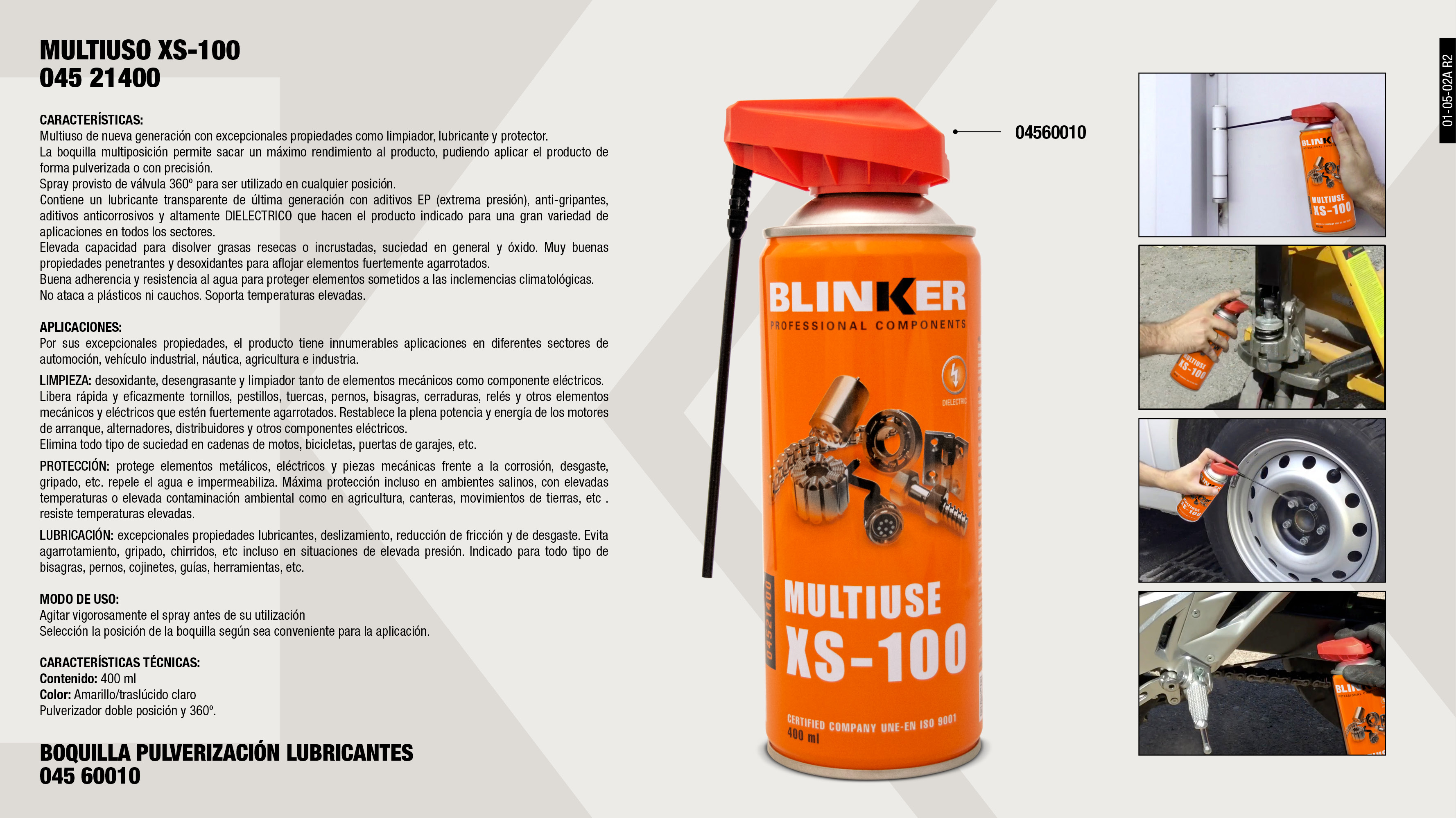 BOQUILLA MULTIFUNCION LUBRICANTE SPRAY                      ,  									MULTIUSO XS-100 400ML                                       ,