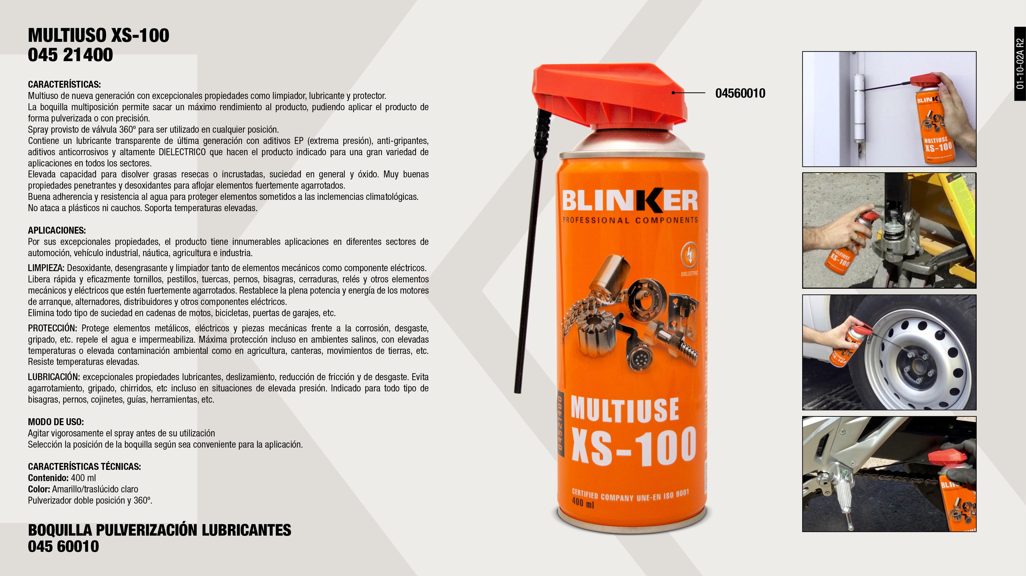 BOQUILLA MULTIFUNCION LUBRICANTE SPRAY                      ,  MULTIUSO XS-100 400ML                                       ,