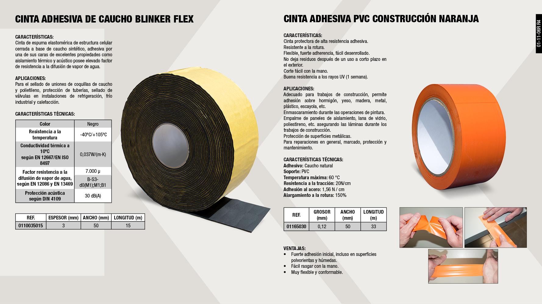 CINTA PVC CONSTRUCCION NARANJA 50MMX33M                     ,  CINTA BLINKERFLEX 3X50X15M                                  ,