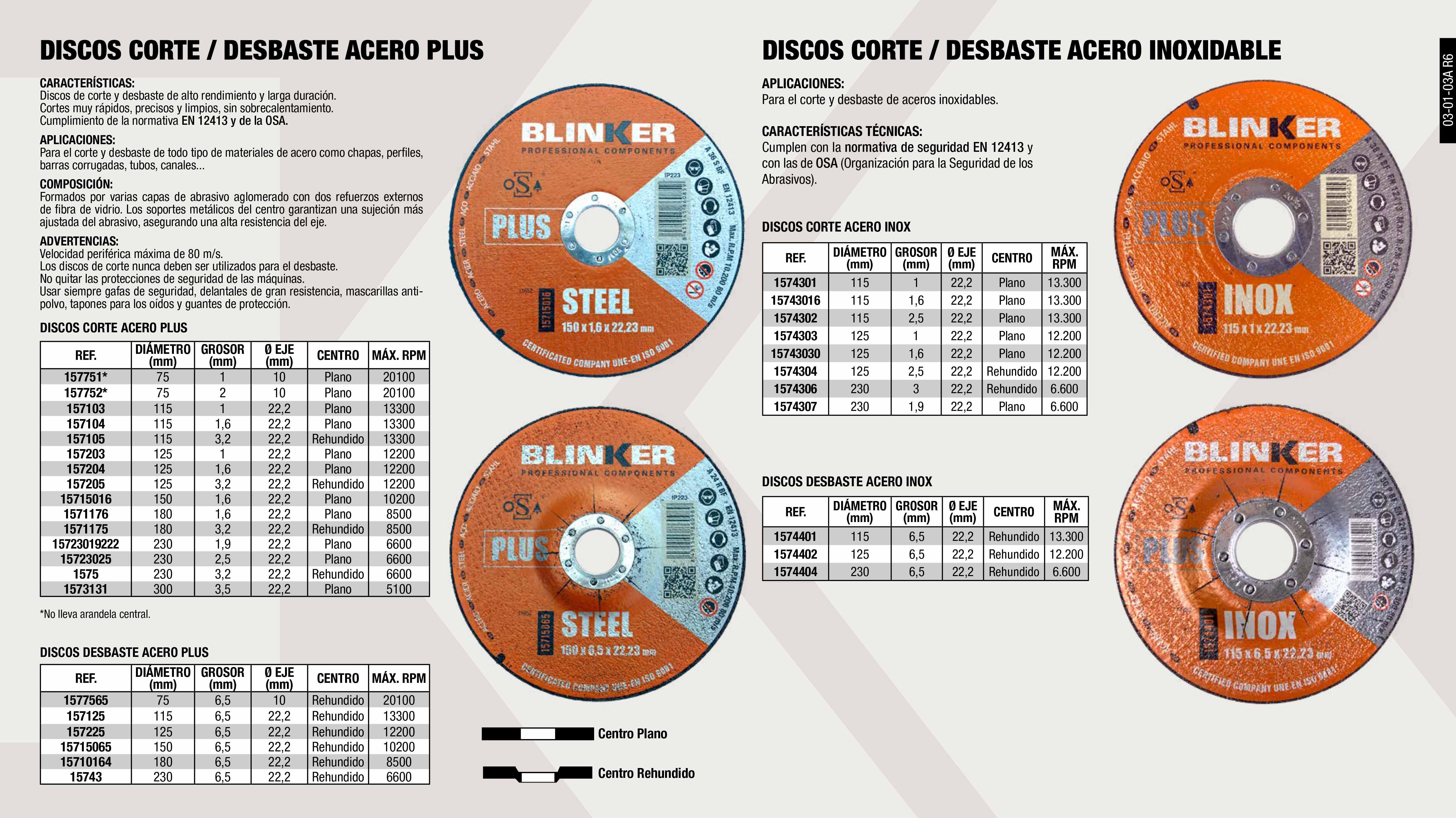 DISCO CORTE ACERO 115X3,2X22,2 PLUS                         ,  DISCO CORTE ACERO 230X3,2X22,2 PLUS                         ,  DISCO DESBASTE ACERO 230X6,5X22,2 PLUS                      ,  DISCO CORTE ACERO 150X1,6x22,2 PLUS                         ,  DISCO CORTE ACERO 75X2X10 PLUS                              ,  DISCO CORTE 115X1X22 INOX                                   ,  DISCO CORTE ACERO 125X1,6X22,2 PLUS                         ,  DISCO CORTE 125X1X22 INOX                                   ,  DISCO CORTE 230X3X22 INOX                                   ,  DISCO DESBASTE 230X6,5X22 INOX                              ,  DISCO DESBASTE ACERO 115X6,5X22,2 PLUS                      ,  DISCO DESBASTE ACERO 125X6,5X22,2 PLUS                      ,  DISCO CORTE 115X1.6X22 INOX                                 ,  DISCO CORTE ACERO 115X1X22,2 PLUS                           ,  DISCO CORTE 230X1,9X22,2 INOX                               ,  DISCO CORTE ACERO 150X2,5x22,2 PLUS                         ,  DISCO CORTE ACERO 125X3,2X22,2 PLUS                         ,  DISCO DESBASTE ACERO 180X6,5X22,2 PLUS                      ,  DISCO CORTE ACERO 300X3,5X22,2 PLUS                         ,  DISCO DESBASTE ACERO 150X6.5X22.2 PLUS                      ,  DISCO CORTE 125X1.6X22 INOX                                 ,  DISCO CORTE 180X2,5X22 INOX                                 ,  DISCO CORTE ACERO 230X1.9X22.2 PLUS                         ,  DISCO DESBASTE ACERO 75X6,5X10 PLUS                         ,  DISCO CORTE 125X2,5X22 INOX                                 ,  DISCO CORTE ACERO 115X1,6X22,2 PLUS                         ,  DISCO DESBASTE 115X6,5X22 INOX                              ,  DISCO CORTE ACERO 150X3,2x22,2 PLUS                         ,  DISCO CORTE ACERO 75X1X10 PLUS                              ,  DISCO CORTE 115X2,5X22 INOX                                 ,  DISCO CORTE ACERO 180X1,6X22,2 PLUS                         ,  DISCO DESBASTE 125X6,5X22 INOX                 
