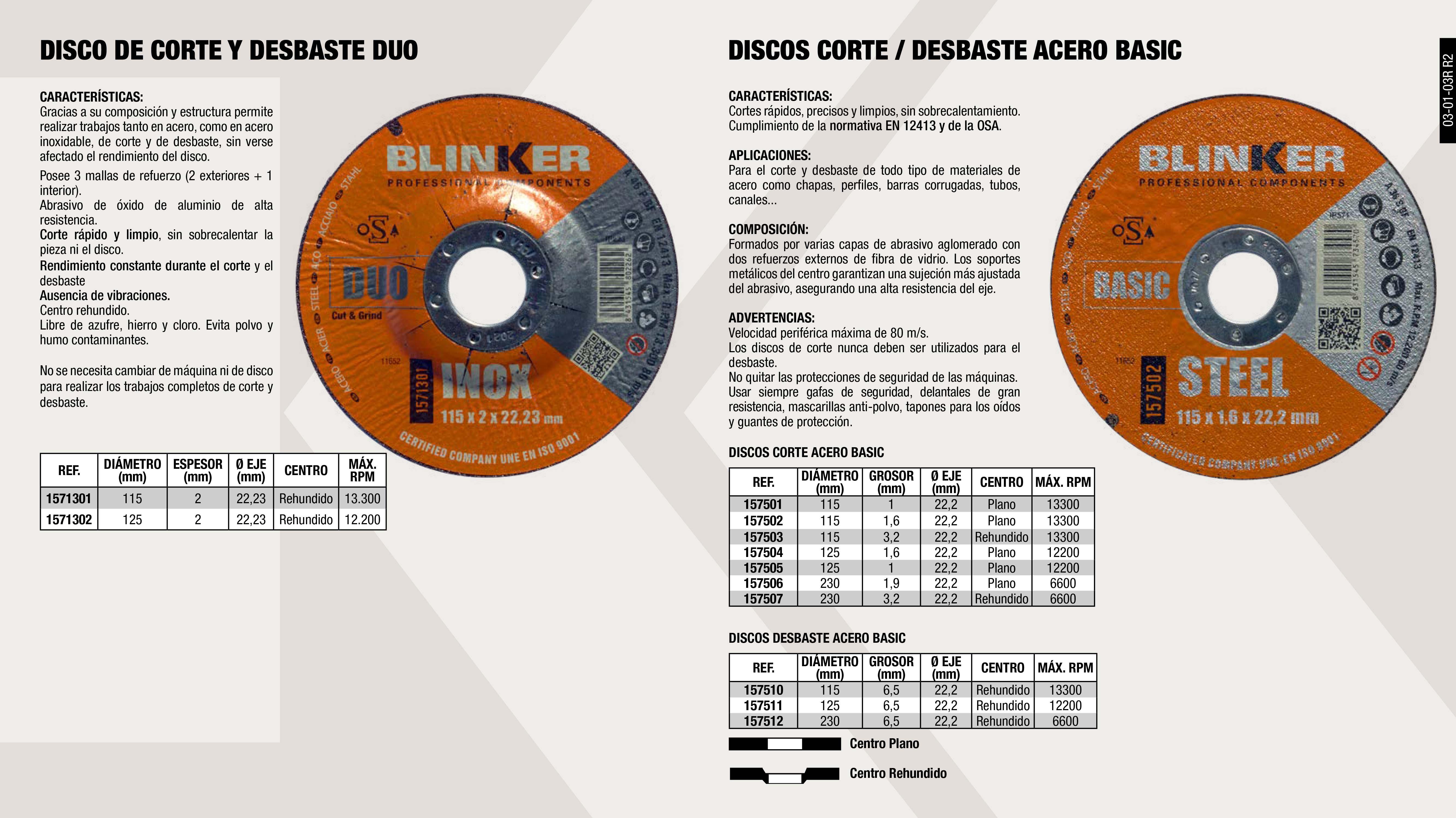 DISCO DUO ACERO/INOX 115X2X22,2                             ,  DISCO DESBASTE ACERO BASIC  125X6,5X22,2                    ,  DISCO CORTE ACERO BASIC 115X1.6X22.2                        ,  DISCO CORTE ACERO BASIC 230X1.9X22.2                        ,  DISCO CORTE ACERO BASIC 230X3.2X22.2                        ,  DISCO DESBASTE ACERO BASIC 230X6,5X22.2                     ,  DISCO DUO ACERO/INOX 125X2X22,2                             ,  DISCO CORTE ACERO BASIC 125X1.6X22.2                        ,  DISCO CORTE ACERO BASIC 125X1X22.2                          ,  DISCO CORTE ACERO BASIC 115X1X22.2                          ,  DISCO CORTE ACERO BASIC 115X3.2X22.2                        ,  DISCO DESBASTE ACERO BASIC 115X6.5X22.2                     ,