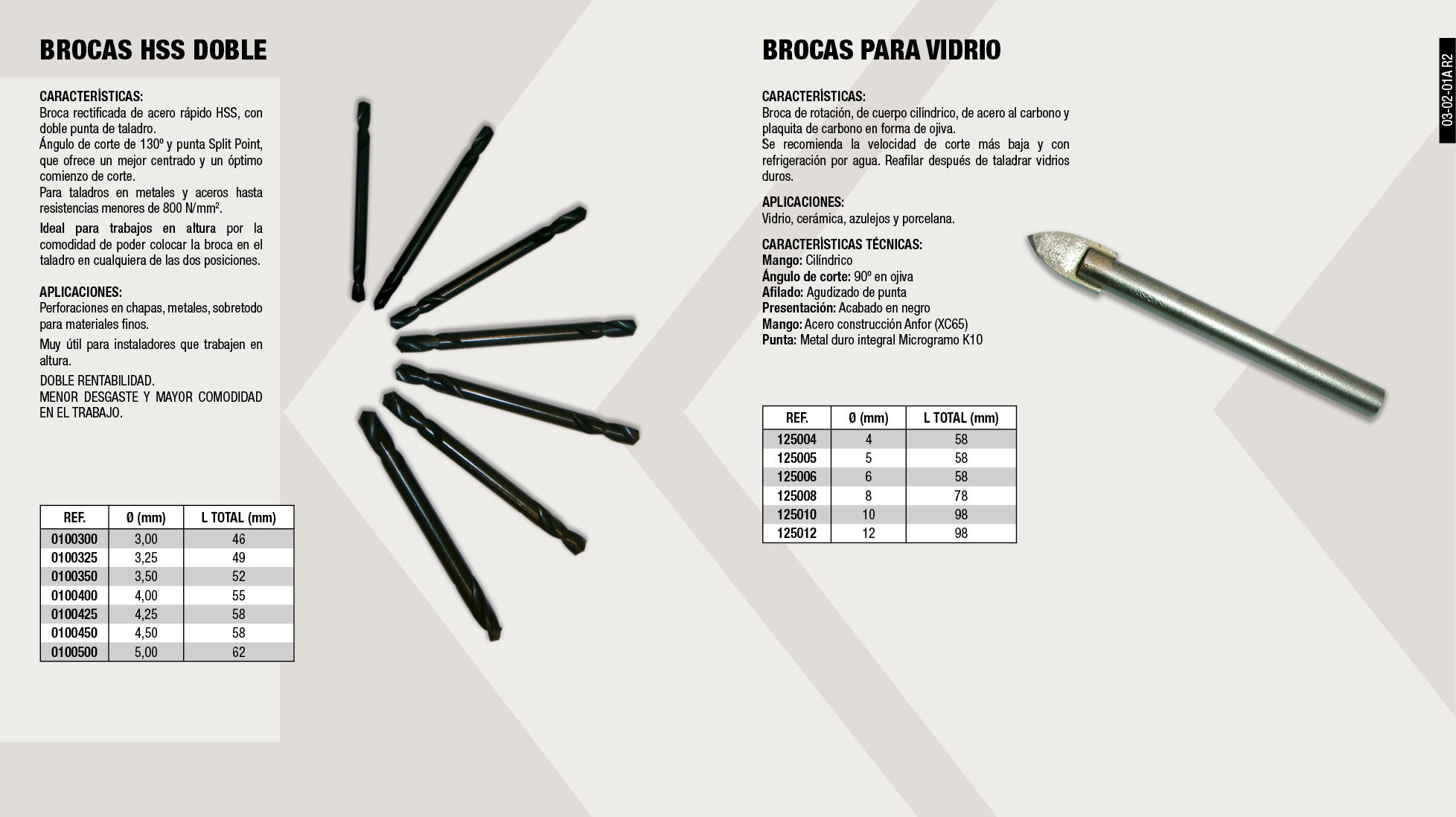 BROCA PORCELANICO EASY 5MM                                  ,  									BROCA HSS DOBLE 4.25 MM                                     ,  									BROCA HSS DOBLE 5.00 MM                                     ,  									BROCA PORCELANICO EASY 10MM                                 ,  									ESTUCHE 5 BROCAS PORCELÁNICO EASY                           ,  									BROCA PORCELANICO EASY 8MM                                  ,  									BROCA HSS DOBLE 3.25 MM                                     ,  									BROCA HSS DOBLE 3.50 MM                                     ,  									BROCA HSS DOBLE 4.50 MM                                     ,  									BROCA HSS DOBLE 3.00 MM                                     ,  									BROCA PORCELANICO EASY 6MM                                  ,  									BROCA PORCELANICO EASY 4MM                                  ,  									BROCA HSS DOBLE 4.00 MM                                     ,