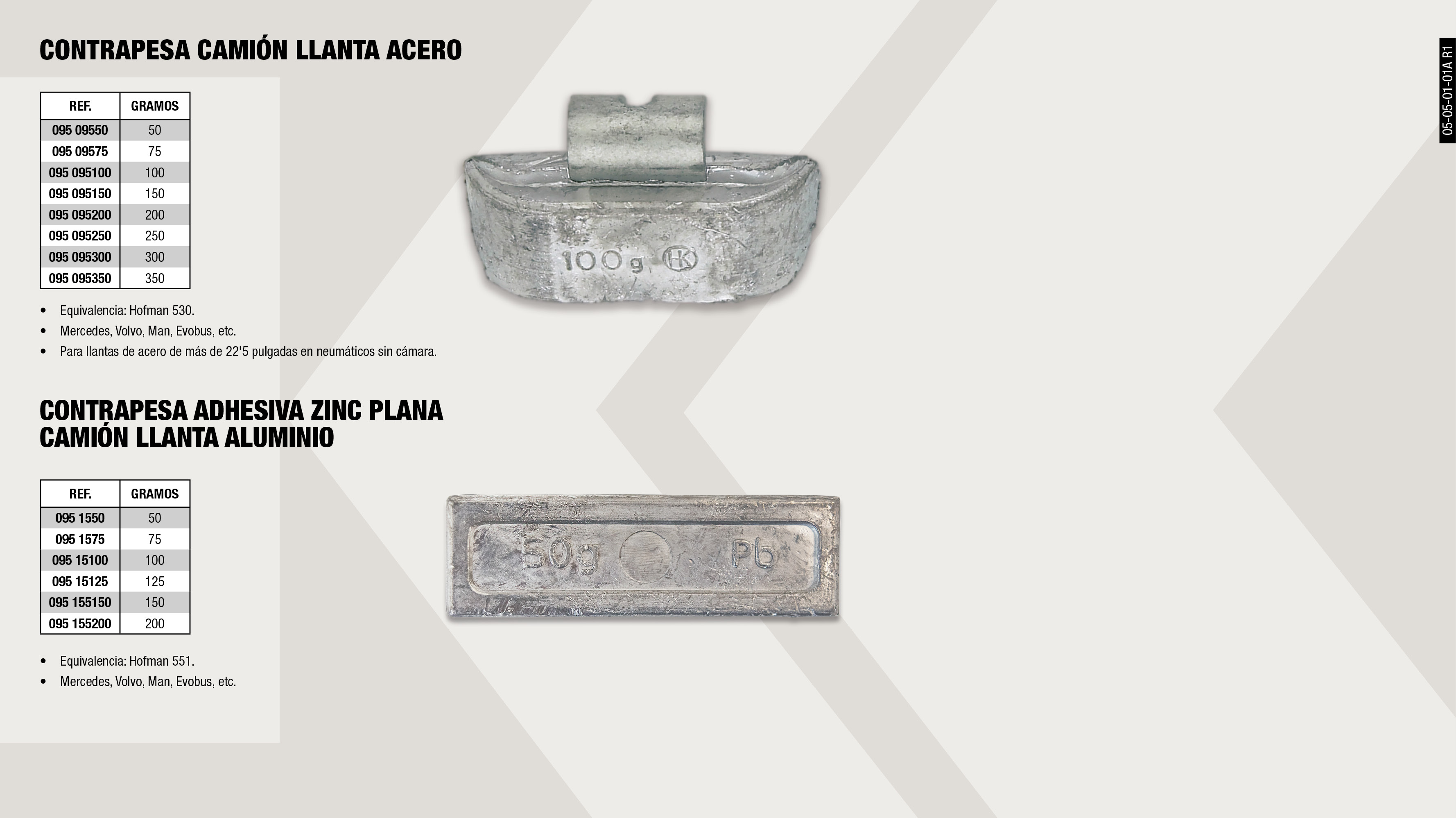 CONTRAPESAS CAMION 100 GR.                                  ,  									CONTRAPESA ADHESIVA ZINC PLANA CAMION 100GR                 ,  									CONTRAPESAS CAMION 250 GR.                                  ,  									CONTRAPESA ADHESIVA ZINC PLANA CAMION 150GR                 ,  									CONTRAPESA ADHESIVA ZINC PLANA CAMION 50GR                  ,  									CONTRAPESAS CAMION 150 GR.                                  ,  									CONTRAPESAS CAMION 50 GR.                                   ,  									CONTRAPESA ADHESIVA ZINC PLANA CAMION 125GR                 ,  									CONTRAPESAS CAMION 75 GR.                                   ,  									CONTRAPESAS CAMION 350 GR.                                  ,  									CONTRAPESAS CAMION 200 GR.                                  ,  									CONTRAPESAS CAMION 300 GR.                                  ,  									CONTRAPESA ADHESIVA ZINC PLANA CAMION 200GR                 ,  									CONTRAPESA ADHESIVA ZINC PLANA CAMION 75GR                  ,
