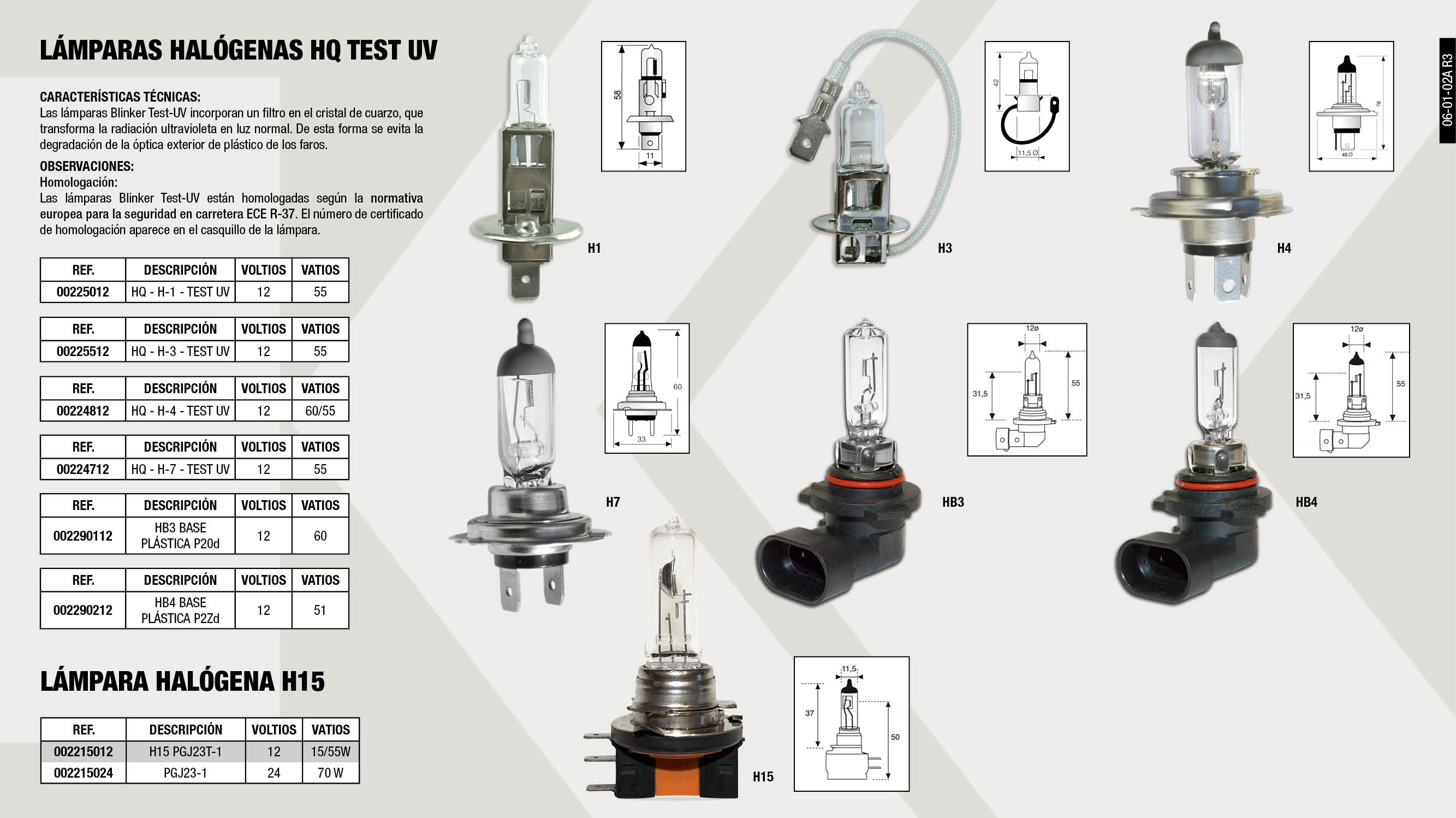 LAMPARA HB4 12V 51W P22D                                    ,  									LAMPARA HQ H4 HALOGENA 12V 60/55W-TEST UV                   ,  									LAMPARA HB3 12V 60W P20D                                    ,  									LAMPARA HQ H3 HALOGENA TEST UV 12V 55W                      ,  									LAMPARA HQ H1 HALOGENA TEST UV 12V 55W                      ,  									LAMPARA HQ H7 HALOGENA 12V 55W-TEST UV                      ,