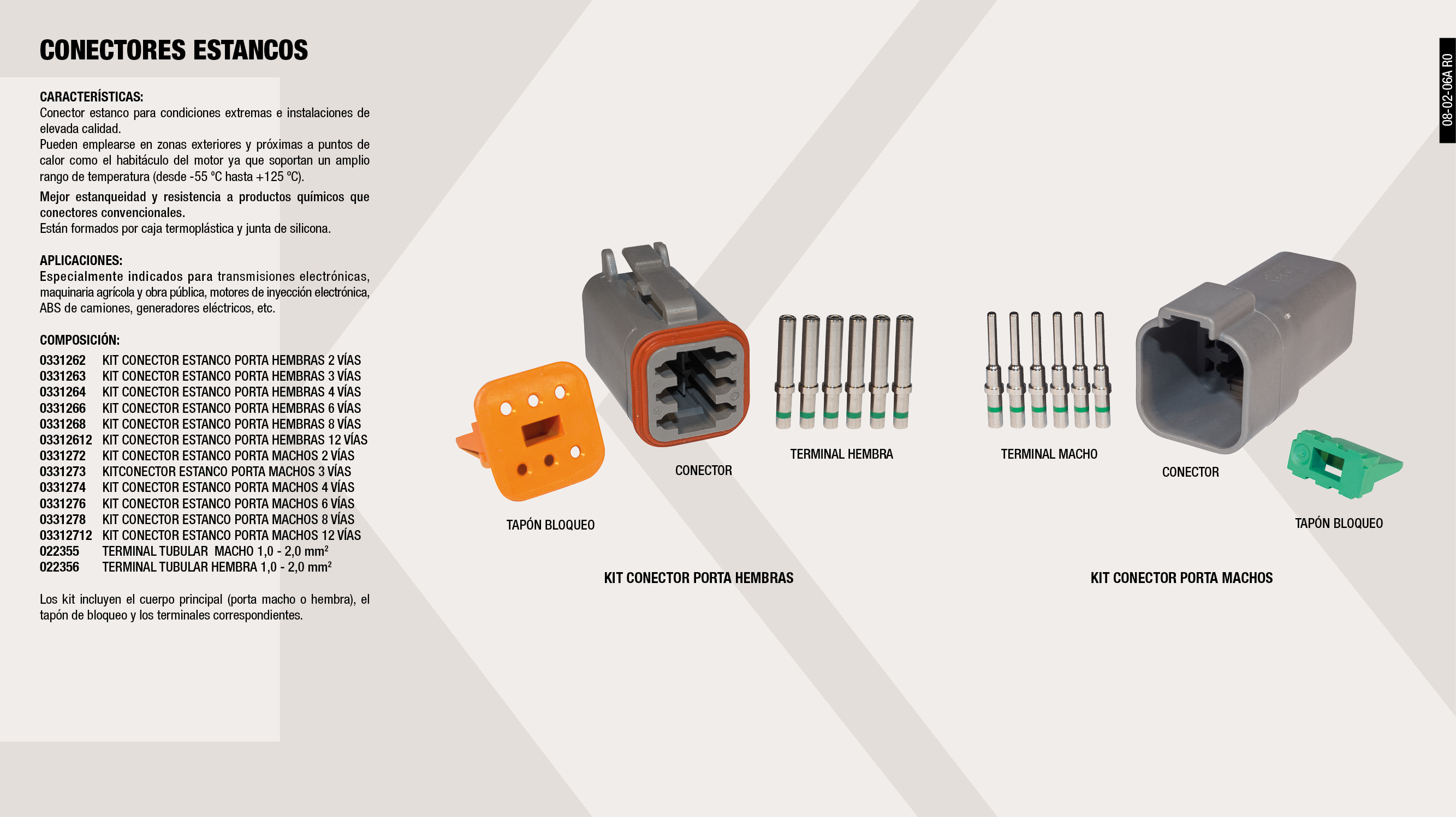 KIT CONECTOR ESTANCO PORTA HEMBRAS 4 VIAS                   ,  									TERMINAL TUBULAR  MACHO 1,0-2,0 MM2                         ,  									KIT CONECTOR ESTANCO PORTA MACHOS 4 VIAS                    ,  									KIT CONECTOR ESTANCO PORTA MACHOS 6 VIAS                    ,  									KIT CONECTOR ESTANCO PORTA HEMBRAS 2 VIAS                   ,  									TERMINAL TUBULAR HEMBRA 1,0-2,0 MM2                         ,  									KITCONECTOR ESTANCO PORTA MACHOS 3 VIAS                     ,  									KIT CONECTOR ESTANCO PORTA MACHOS 12 VIAS                   ,  									KIT CONECTOR ESTANCO PORTA HEMBRAS 6 VIAS                   ,  									KIT CONECTOR ESTANCO PORTA HEMBRAS 8 VIAS                   ,  									KIT CONECTOR ESTANCO PORTA HEMBRAS 12 VIAS                  ,  									KIT CONECTOR ESTANCO PORTA MACHOS 8 VIAS                    ,  									KIT CONECTOR ESTANC PORT-MACHO 2 VIAS                       ,  									KIT CONECTOR ESTANCO PORTA HEMBRAS 3 VIAS                   ,