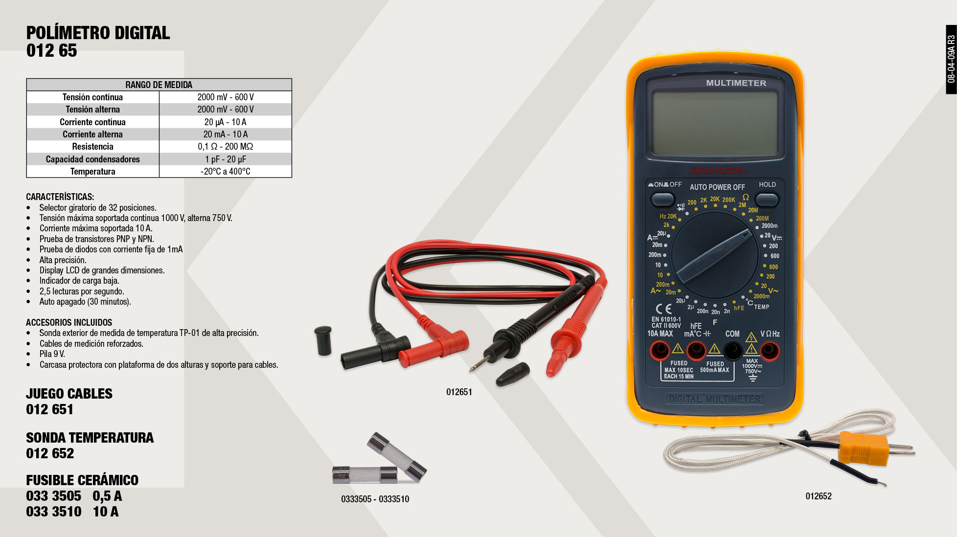SONDA TEMPERATURA TESTER 01265                              ,  POLIMETRO DIGITAL CON TERMOMETRO                            ,  JUEGO CABLES TESTER 01265                                   ,