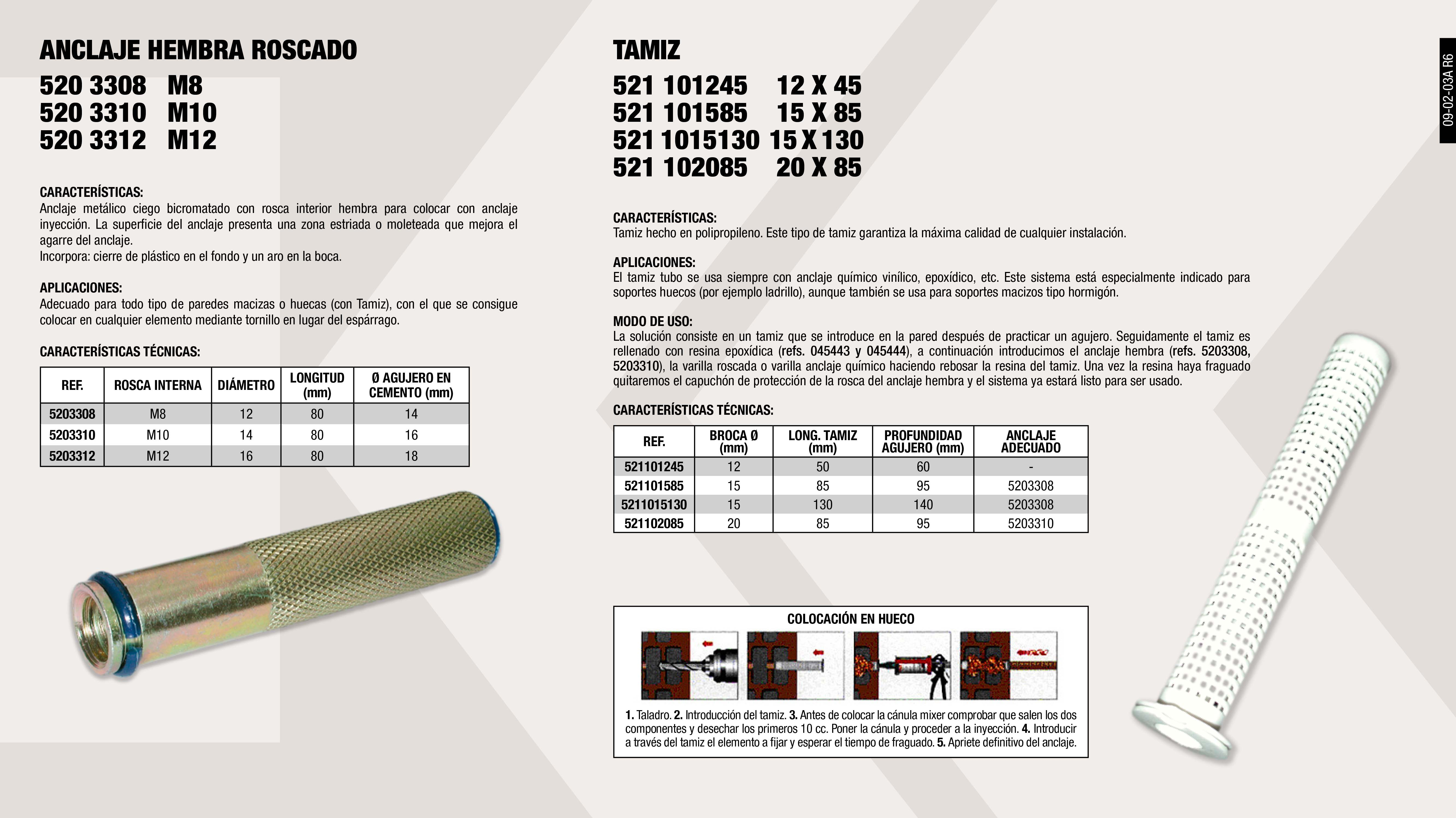 TAMIZ 20X85                                                 ,  ANCLAJE METALICO ROSCADO M12                                ,  ANCLAJE METALICO ROSCADO M10                                ,  TAMIZ 15X85                                                 ,  TAMIZ 12X80                                                 ,  ANCLAJE METALICO ROSCADO M8                                 ,  TAMIZ 12X45                                                 ,