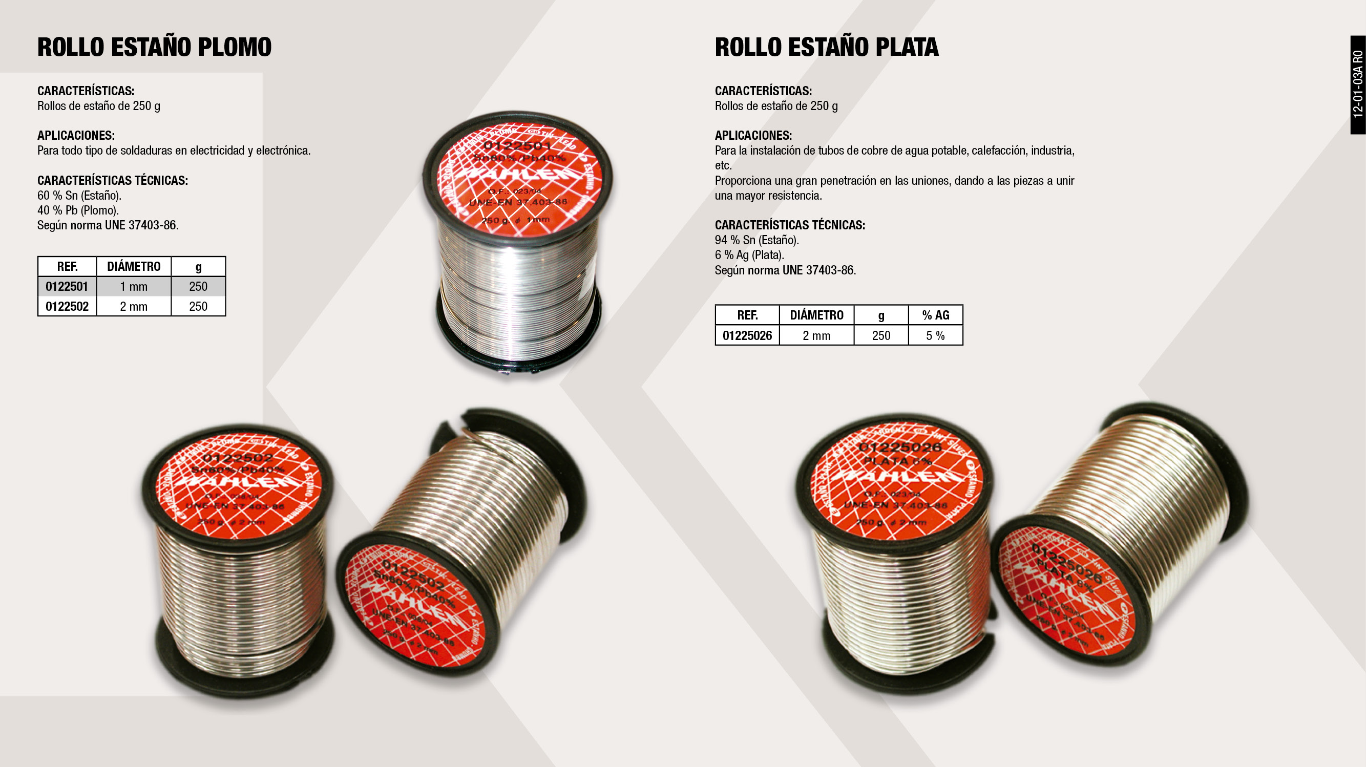 ROLLO ESTAÑO 250 GR 5% PLATA 2MM                            ,  									ROLLO ESTAÑO  PLOMO 250 GR 2MM                              ,  									ROLLO ESTAÑO  PLOMO 250 GR 1MM                              ,