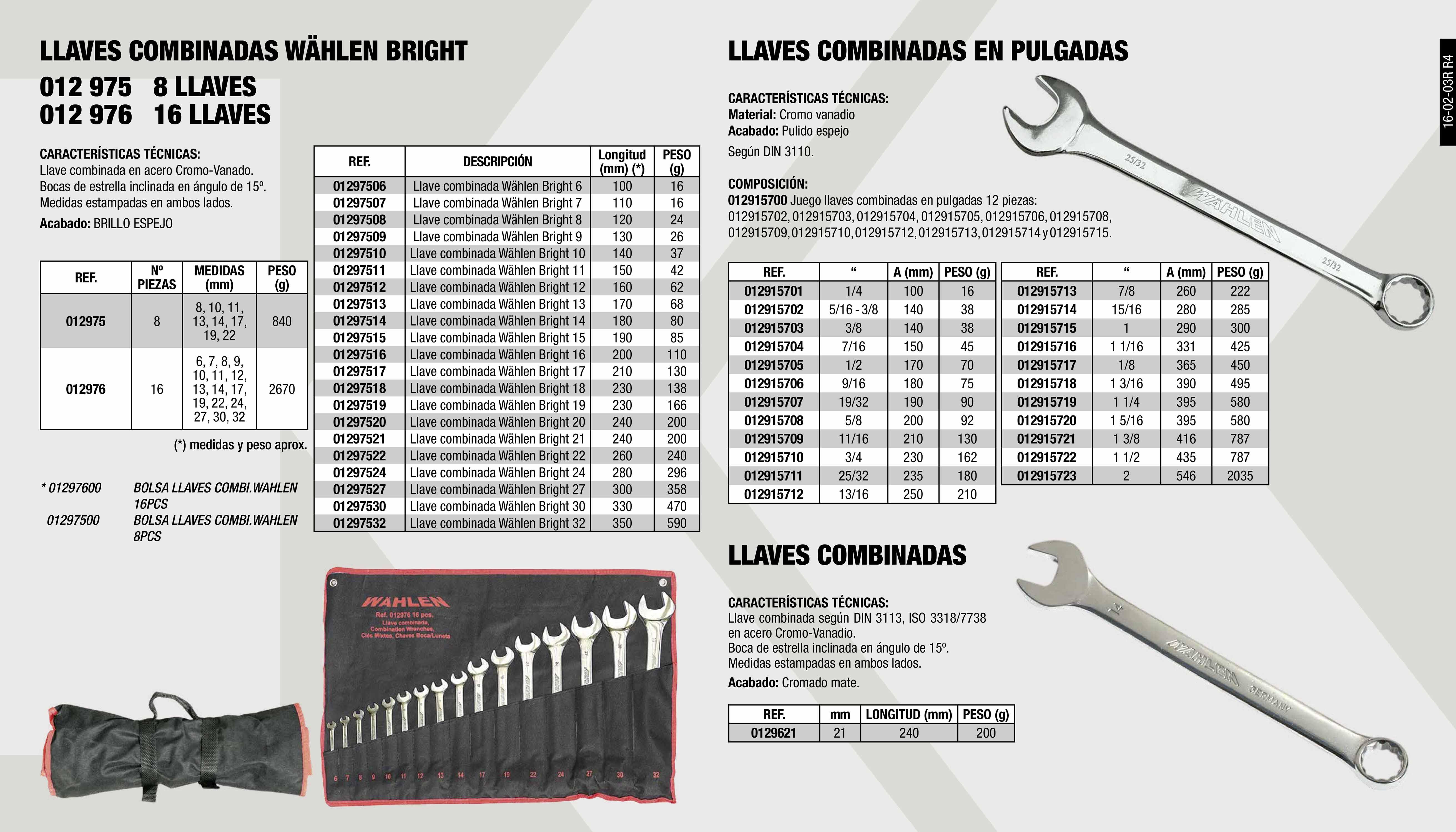 LLAVE COMBI. WAHLEN BRIGHT 12MM                             ,  LLAVE COMBI. WAHLEN BRIGHT 19MM                             ,  LLAVE COMBINADA EN PULGADAS 1 1/8                           ,  LLAVE COMBI. WAHLEN BRIGHT 27MM                             ,  BOLSA LLAVES COMBI.WAHLEN 16PCS                             ,  LLAVE COMBINADA EN PULGADAS 1 1/16                          ,  LLAVE COMBINADA EN PULGADAS 9/16                            ,  JG.8 LLAVES COMBI. WAHLEN BRIGHT                            ,  LLAVE COMBI. WAHLEN BRIGHT 18MM                             ,  LLAVE COMBI. WAHLEN BRIGHT 21MM                             ,  LLAVE COMBI. WAHLEN BRIGHT 24MM                             ,  LLAVE COMBINADA EN PULGADAS 7/8                             ,  LLAVE COMBI. WAHLEN BRIGHT 6MM                              ,  LLAVE COMBINADA WAHLEN 19MM                                 ,  LLAVE COMBI. WAHLEN BRIGHT 14MM                             ,  LLAVE COMBINADA EN PULGADAS 1 1/2                           ,  LLAVE COMBINADA EN PULGADAS 19/32                           ,  LLAVE COMBI. WAHLEN BRIGHT 7MM                              ,  LLAVE COMBI. WAHLEN BRIGHT 10MM                             ,  LLAVE COMBI. WAHLEN BRIGHT 13MM                             ,  LLAVE COMBINADA EN PULGADAS 15/16                           ,  LLAVE COMBINADA EN PULGADAS 7/16                            ,  JG.16 LLAVES COMBI. WAHLEN BRIGHT                           ,  LLAVE COMBI. WAHLEN BRIGHT 17MM                             ,  LLAVE COMBI. WAHLEN BRIGHT 22MM                             ,  LLAVE COMBINADA WAHLEN 21MM                                 ,  LLAVE COMBINADA EN PULGADAS 1 3/8                           ,  LLAVE COMBINADA EN PULGADAS 5/8                             ,  LLAVE COMBI. WAHLEN BRIGHT 9MM                              ,  LLAVE COMBI. WAHLEN BRIGHT 11MM                             ,  JUEGO LLAVES COMBINADAS EN PULGADAS 12PCS                   ,  LLAVE COMBINADA WAHLEN 30MM                    