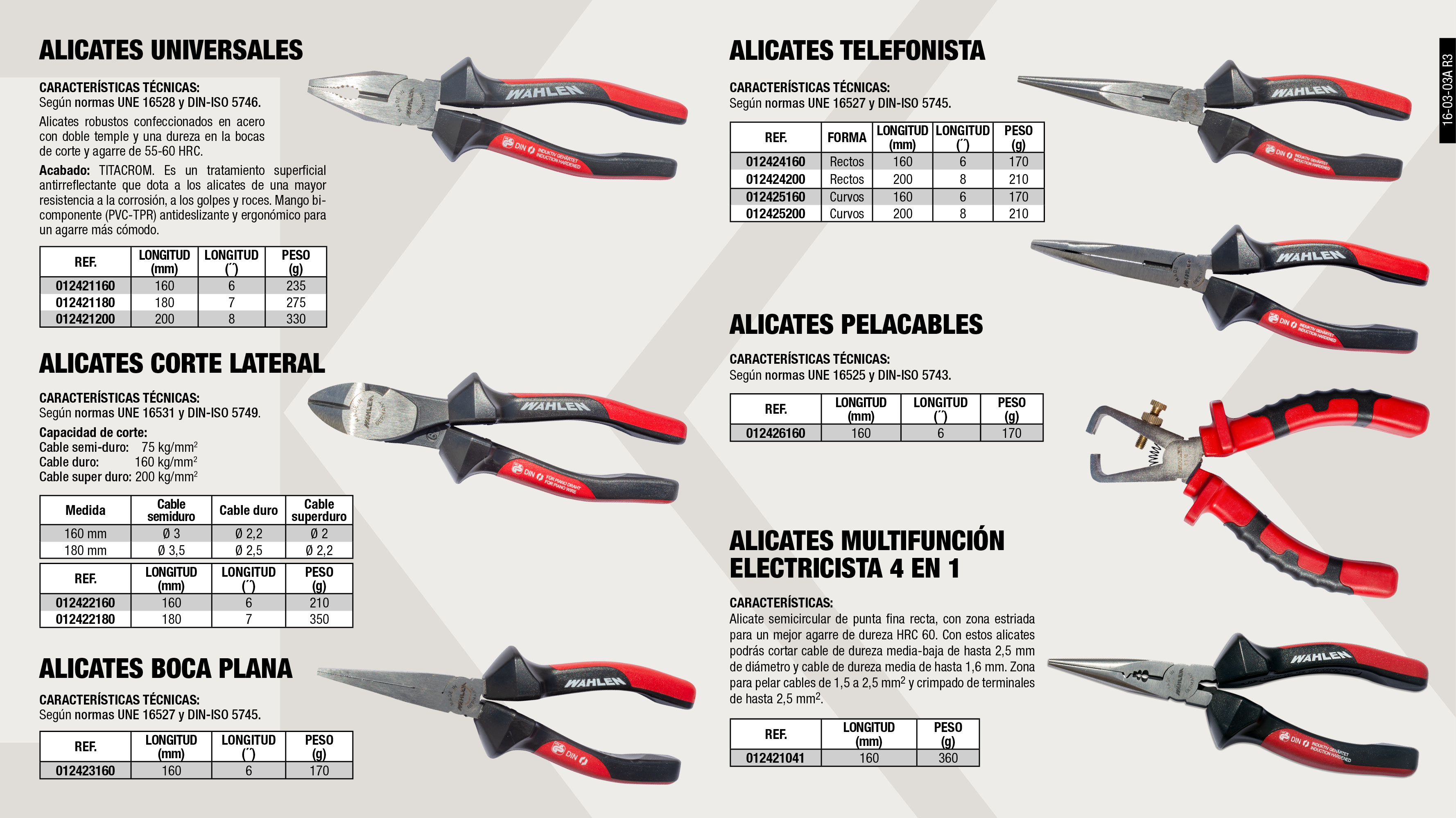 ALICATE TELEFONISTA 200MM 8''                               ,  									ALICATE BOCA PLANA 160MM 6''                                ,  									ALICATE UNIVERSAL 160MM 6''                                 ,  									ALICATE TELEFONISTA 160MM 6´´                               ,  									ALICATE PELACABLE AUTOMATICO 160MM 6''                      ,  									ALICATE UNIVERSAL 200MM 8''                                 ,  									ALICATE CORTE LATERAL 180MM 7''                             ,  									ALICATE TELEFONISTA CURVO 200MM 8''                         ,  									ALICATE CORTE LATERAL 160MM 6''                             ,  									ALICATE MULTIFUNCIÓN ELECTRICISTA 4 EN 1                    ,  									ALICATE UNIVERSAL 180MM 7''                                 ,  									ALICATE TELEFONISTA CURVO 160MM 6''                         ,