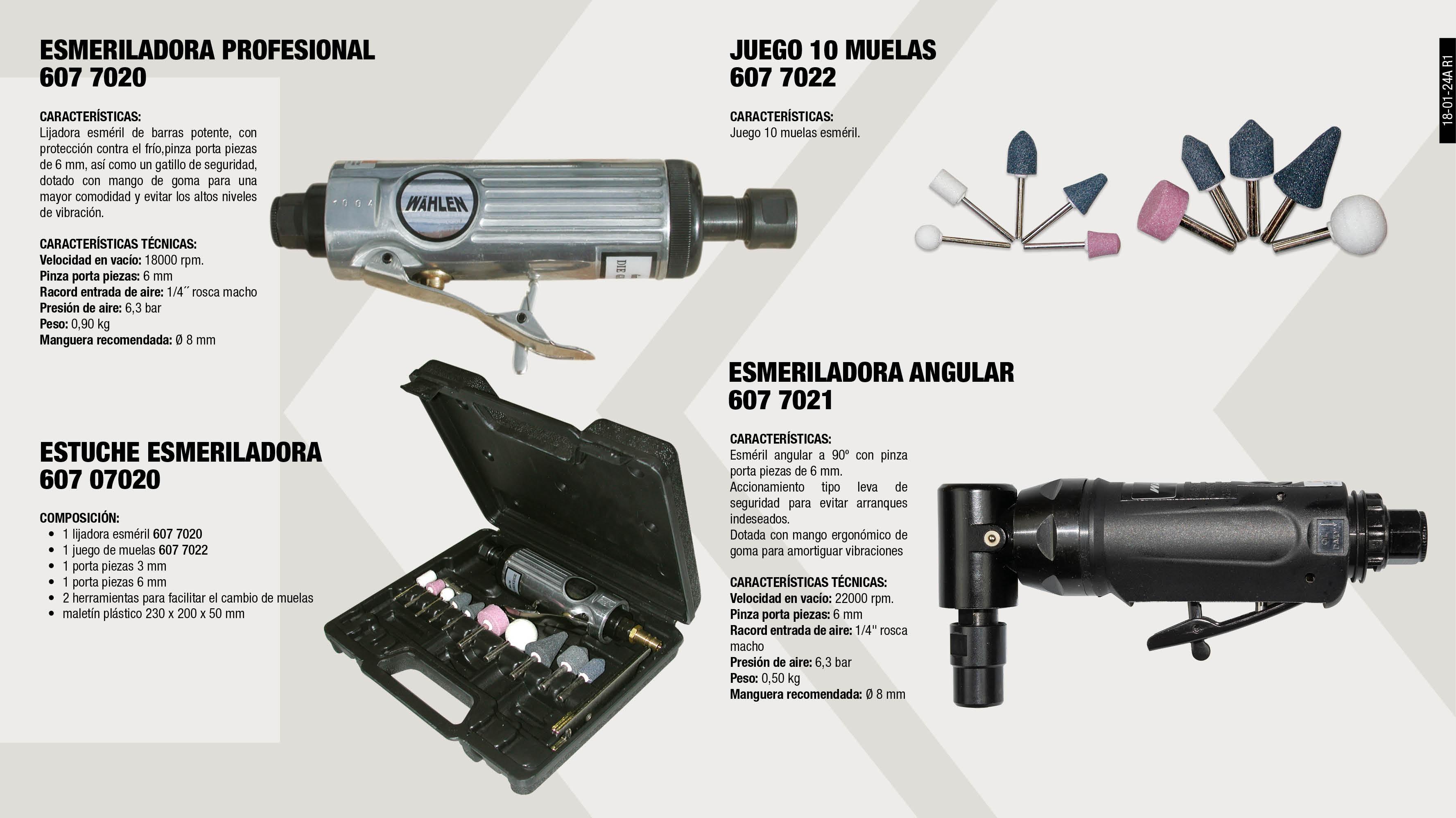 ESMERILADORA PROFESIONAL                                    ,  ESTUCHE ESMERILADORA 7020S                                  ,  JUEGO MUELAS                                                ,