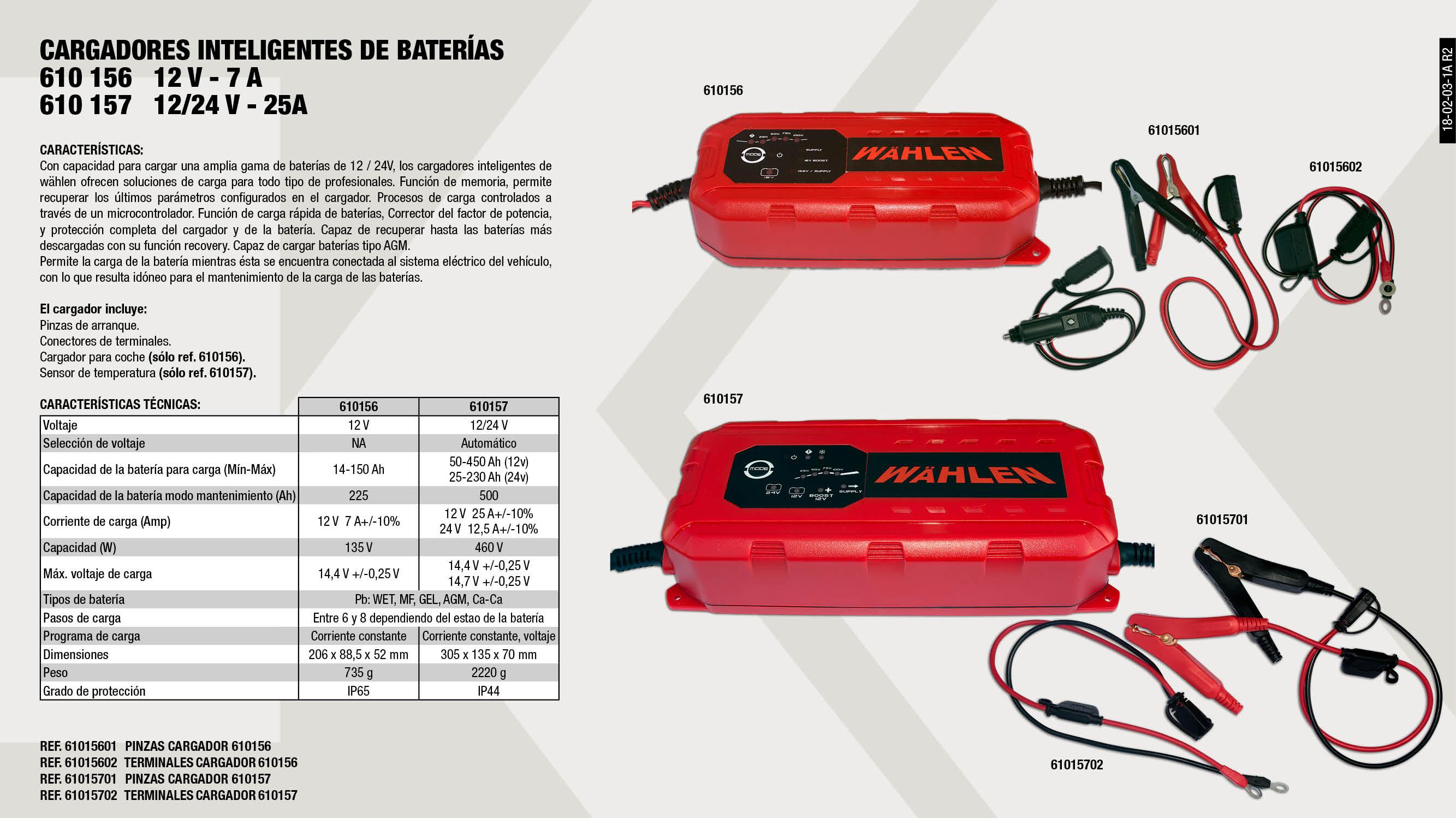 PINZAS CARGADOR 610157                                      ,  PINZAS CARGADOR 610156                                      ,  TERMINALES CARGADOR 610157                                  ,  CARGADOR INTELIGENTE DE BATERÍAS  12V 7A                    ,  CARGADOR INTELIGENTE DE BATERÍAS 12 / 24V 25A               ,  TERMINALES CARGADOR 610156                                  ,