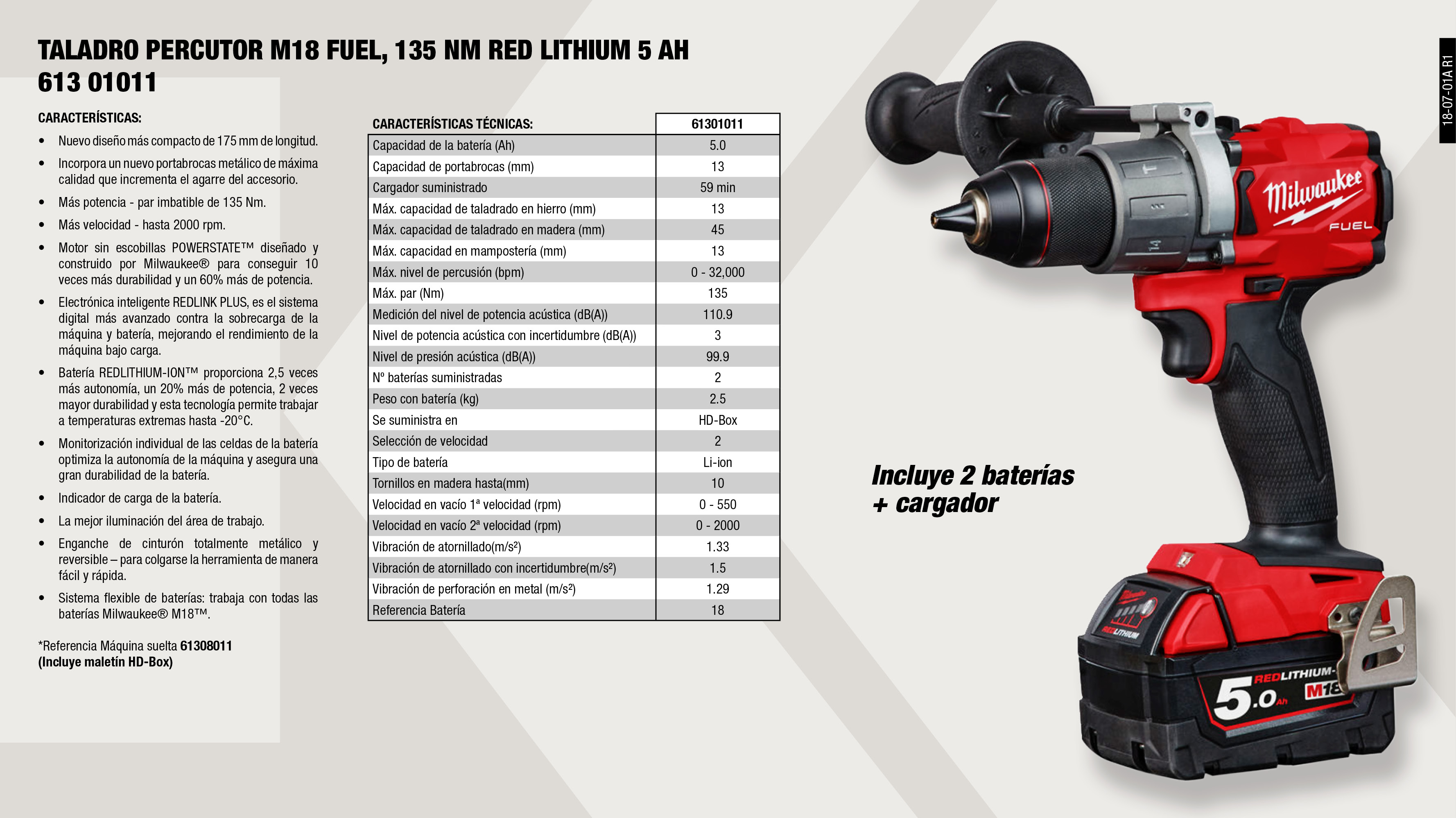 TALADRO PERCUTOR M18 FUEL, 135NM SIN BATERIAS			