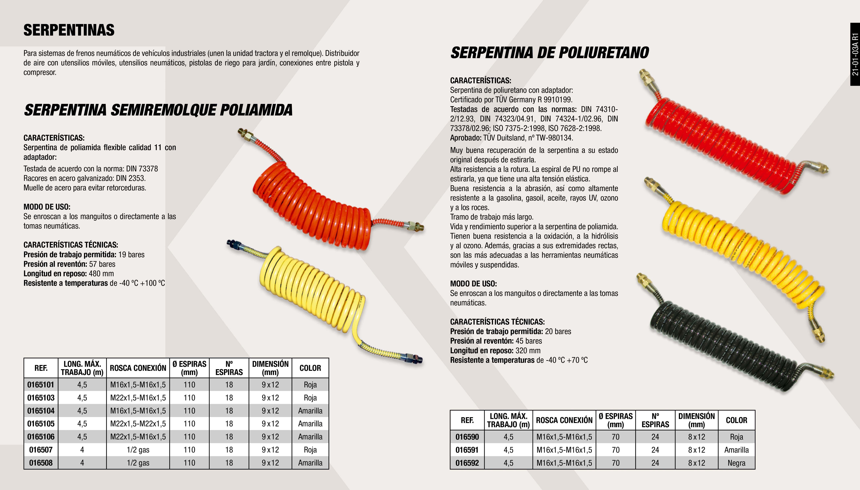 SERP.PA ROJA M16-1.5-M16-1.5 (4.5M)                         ,  SERPENTINA PU-PLUS ROJA M16-1,5 (4.5M.)                     ,  SERP.SEMIREMOLQUE 1/2 GAS ROJA                              ,  SERPENTINA PU-PLUS NEGRO M16-1,5 (4,5M)                     ,  SERP.SEMIREMOLQUE 1/2 GAS AMARILLA                          ,  SERP.PA ROJA M22-1.5-M16-1.5 (4.5M)                         ,  SERP.PA AMARILLA M22-1.5-M22-1.5(4.5M)                      ,  SERPENTINA PU-PLUS AMARILLA M16-1,5 (4,5M)                  ,  SERP.PA AMARILLA M16-1.5-M16-1.5(4.5M)                      ,  SERP.PA AMARILLA M22-1.5-M16-1.5(4.5M)                      ,  SERP.PA ROJA M22-1.5-M22-1.5 (4.5M)                         ,