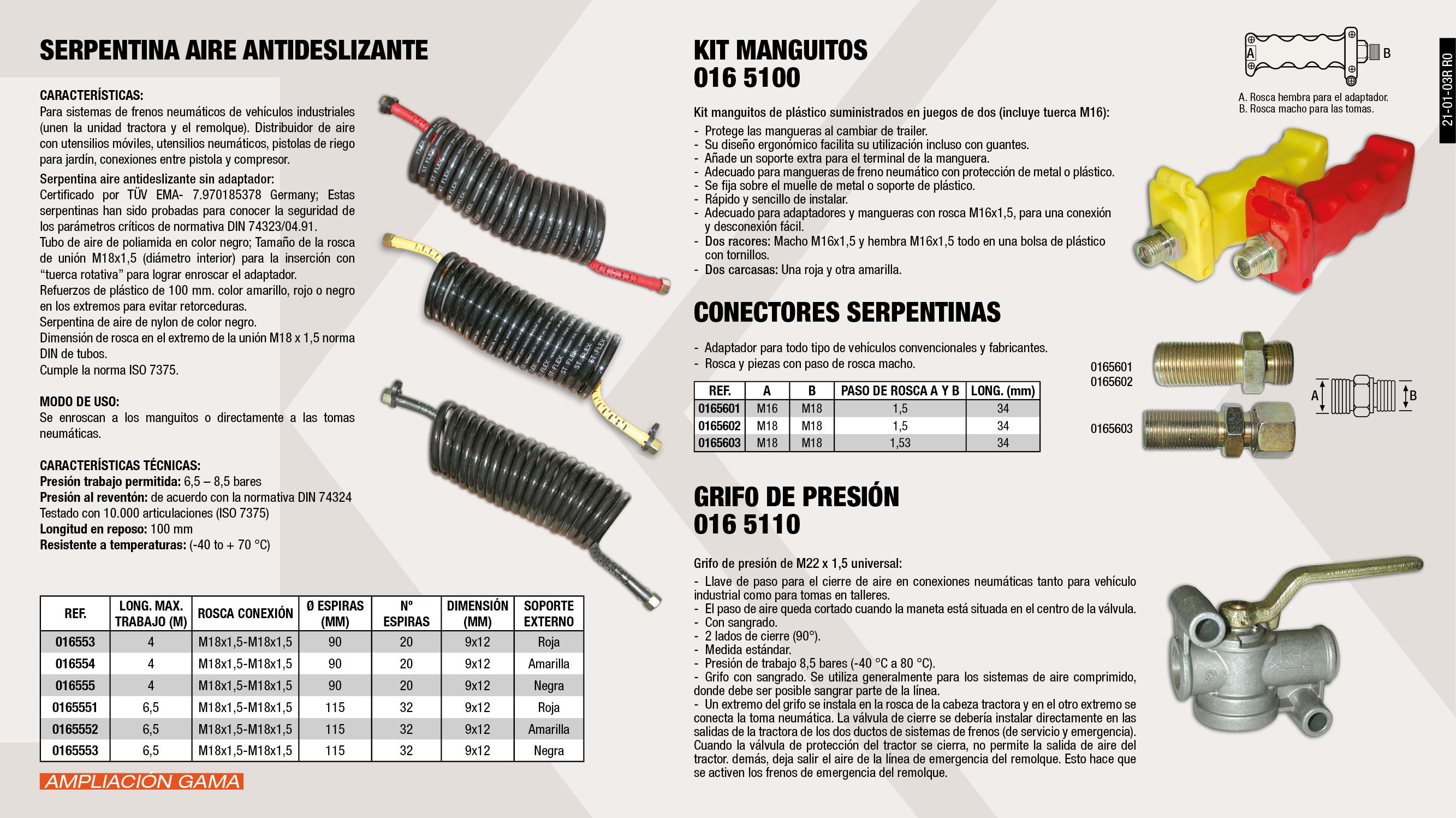 CONECTOR SERPENTINA M16X1,5-M18X1,5 L:34MM                  ,  SERPENTINA AIRE ANTIDESLIZANTE ROJA M18X1,5 6,5MT           ,  SERPENTINA AIRE ANTIDESLIZANTE NEGRA M18X1,5 6,5MT          ,  CONECTOR SERPENTINA M18X1,5-M18X1,5 L:34MM.                 ,  CONECTOR SERP. C/TUERCA M 18X1.5                            ,  SERPENTINA AIRE ANTIDESLIZANTE AMA M18X1,5 6,5MT            ,  GRIFO DE PRESION M22X1,5                                    ,  SERPENTINA AIRE ANTIDESLIZANTE ROJA M18X1,5                 ,  SERPENTINA AIRE ANTIDESLIZANTE AM.M18X1,5                   ,  SERPENTINA AIRE ANTIDESLIZANTE NEG.M18X1,5                  ,  KIT MANGUITOS ROJO Y AMARILLO                               ,