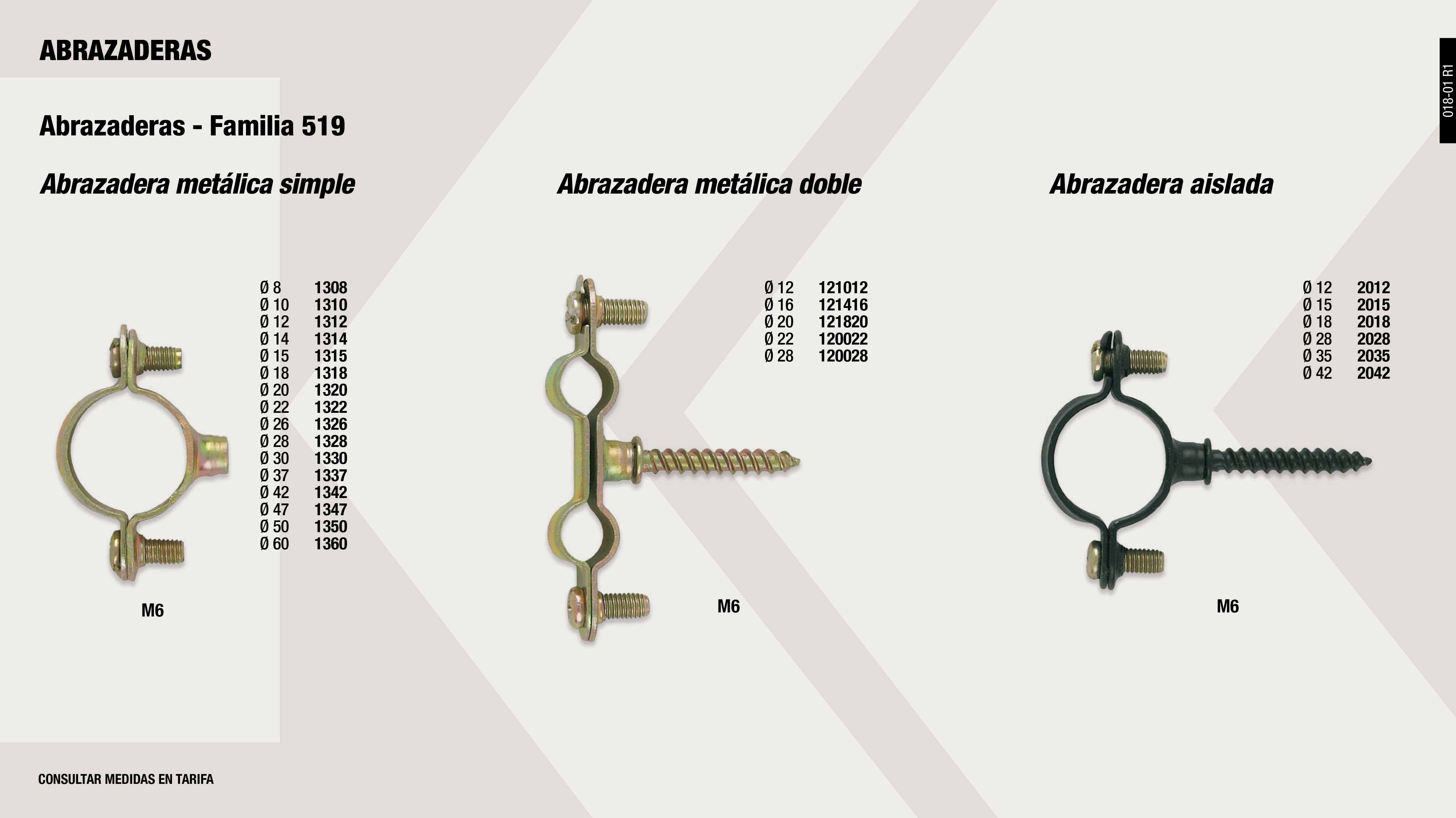 ABRAZADERA METALICA DOBLE 22 MM.                            ,  									ABRAZADERA METALICA DOBLE 28 MM.                            ,  									ABRAZADERA METALICA SIMPLE 14 MM.                           ,  									ABRAZADERA METALICA SIMPLE 20 MM.                           ,  									ABRAZADERA METALICA SIMPLE 28 MM.                           ,  									ABRAZADERA METALICA SIMPLE 37 MM.                           ,  									ABRAZADERA METALICA SIMPLE 47 MM.                           ,  									ABRAZADERA 15MM AISLADA NEGRA M6                            ,  									ABRAZADERA METALICA DOBLE 12 MM.                            ,  									ABRAZADERA METALICA DOBLE 20 MM.                            ,  									ABRAZADERA METALICA SIMPLE 15 MM.                           ,  									ABRAZADERA METALICA SIMPLE 22 MM.                           ,  									ABRAZADERA 18MM AISLADA NEGRA M6                            ,  									ABRAZADERA METALICA SIMPLE 12 MM.                           ,  									ABRAZADERA 28MM AISLADA NEGRA M6                            ,  									ABRAZADERA METALICA SIMPLE 10 MM.                           ,  									ABRAZADERA METALICA SIMPLE 18 MM.                           ,  									ABRAZADERA 42MM AISLADA NEGRA M6                            ,  									ABRAZADERA 35MM AISLADA NEGRA M6                            ,  									ABRAZADERA METALICA SIMPLE 60 MM.                           ,  									ABRAZADERA METALICA SIMPLE 24 MM.                           ,  									ABRAZADERA METALICA SIMPLE 30 MM.                           ,  									ABRAZADERA METALICA SIMPLE 42 MM.                           ,  									ABRAZADERA METALICA SIMPLE 50 MM.                           ,  									ABRAZADERA METALICA DOBLE 16 MM.                            ,  									ABRAZADERA METALICA SIMPLE 8 MM.                            ,  									ABRAZADERA METALICA SIMPLE 26 MM.                           ,  									ABRAZADERA 12MM AISLADA NEGRA M6                            ,