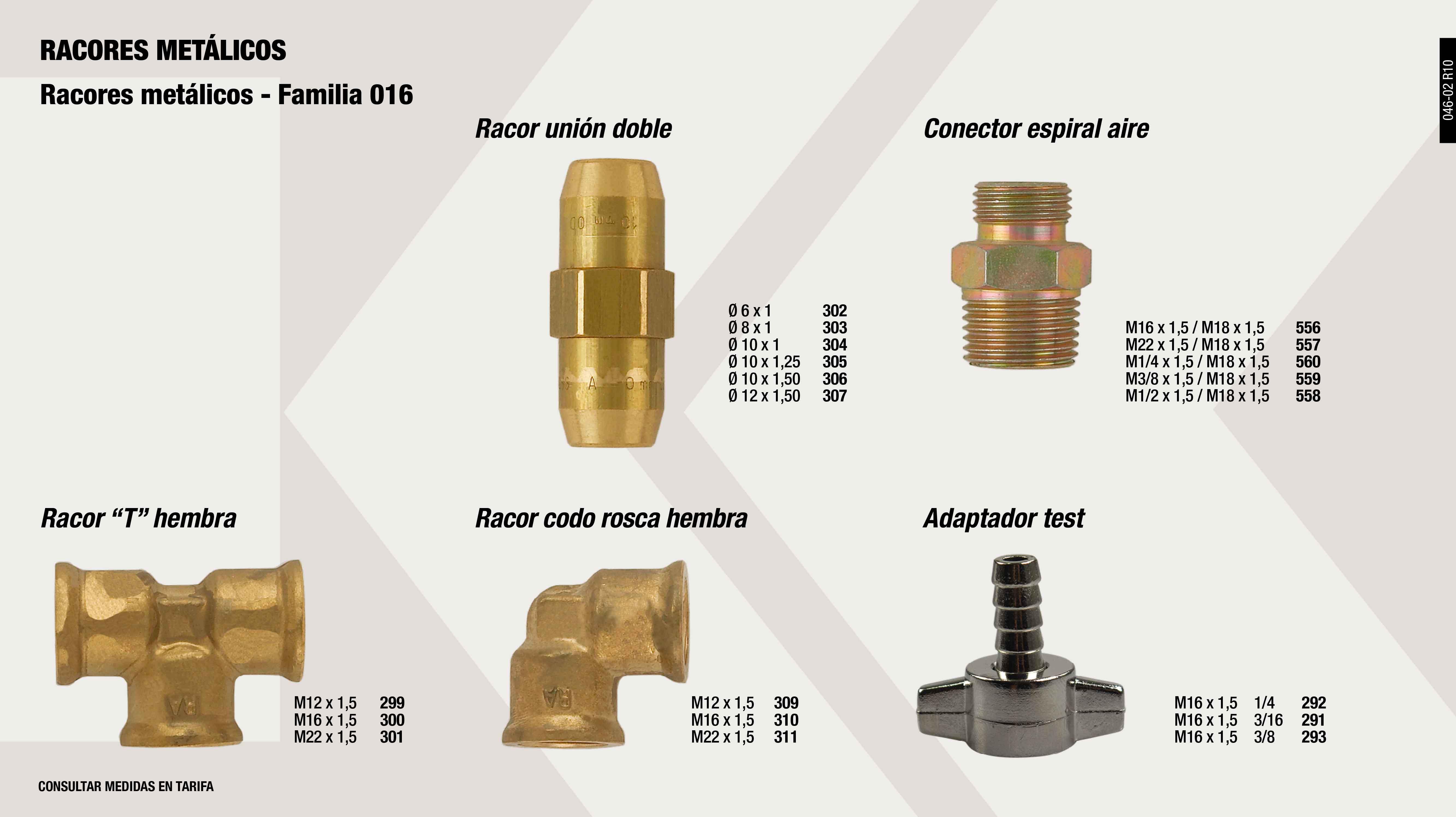 ADAPTADOR TEST M16X1,5-3/16                                 ,  ADAPTADOR TEST M16X1,5-1/4                                  ,  ADAPTADOR TEST M16X1,5-3/8                                  ,  RACOR UNION DOBLE 8X1                                       ,  RACOR T ROSCA HEMBRA M12X150                                ,  RACOR UNION DOBLE 10X150                                    ,  CONECTOR ESPIRAL AIRE M16X1,5-M18X1,5                       ,  CONECTOR ESPIRAL AIRE 1/4 X 18 X1,5                         ,  ADAPTADOR RACOR M10X1.0                                     ,  RACOR UNION DOBLE 12X150                                    ,  RACOR 90º M16 P5                                            ,  RACOR METALICO ACODADO M6X1                                 ,  CONECTOR ESPIRAL AIRE 1/2 X 18X1,5                          ,  ADAPTADOR RACOR M22X1.5                                     ,  RACOR METALICO ACODADO M10X150                              ,  RACOR T ROSCA HEMBRA M22X150                                ,  RACOR UNION DOBLE 10X1                                      ,  RACOR CODO ROSCA HEMBRA M16X150                             ,  CONECTOR ESPIRAL AIRE 3/8 X 18 X 1,5                        ,  RACOR T ROSCA HEMBRA M16X150                                ,  RACOR UNION DOBLE 10X125                                    ,  RACOR METALICO ACODADO T.8(P5)                              ,  CONECTOR ESPIRAL AIRE M22X1,5-M18X1,5                       ,  RACOR METALICO ACODADO M10X125                              ,  ADAPTADOR RACOR M12X1.5                                     ,  ADAPTADOR RACOR M16X1.5                                     ,  RACOR METALICO ACODADO M12X150                              ,  RACOR UNION DOBLE 6X1                                       ,  RACOR CODO ROSCA HEMBRA M12X150                             ,  RACOR CODO ROSCA HEMBRA M22X150                             ,
