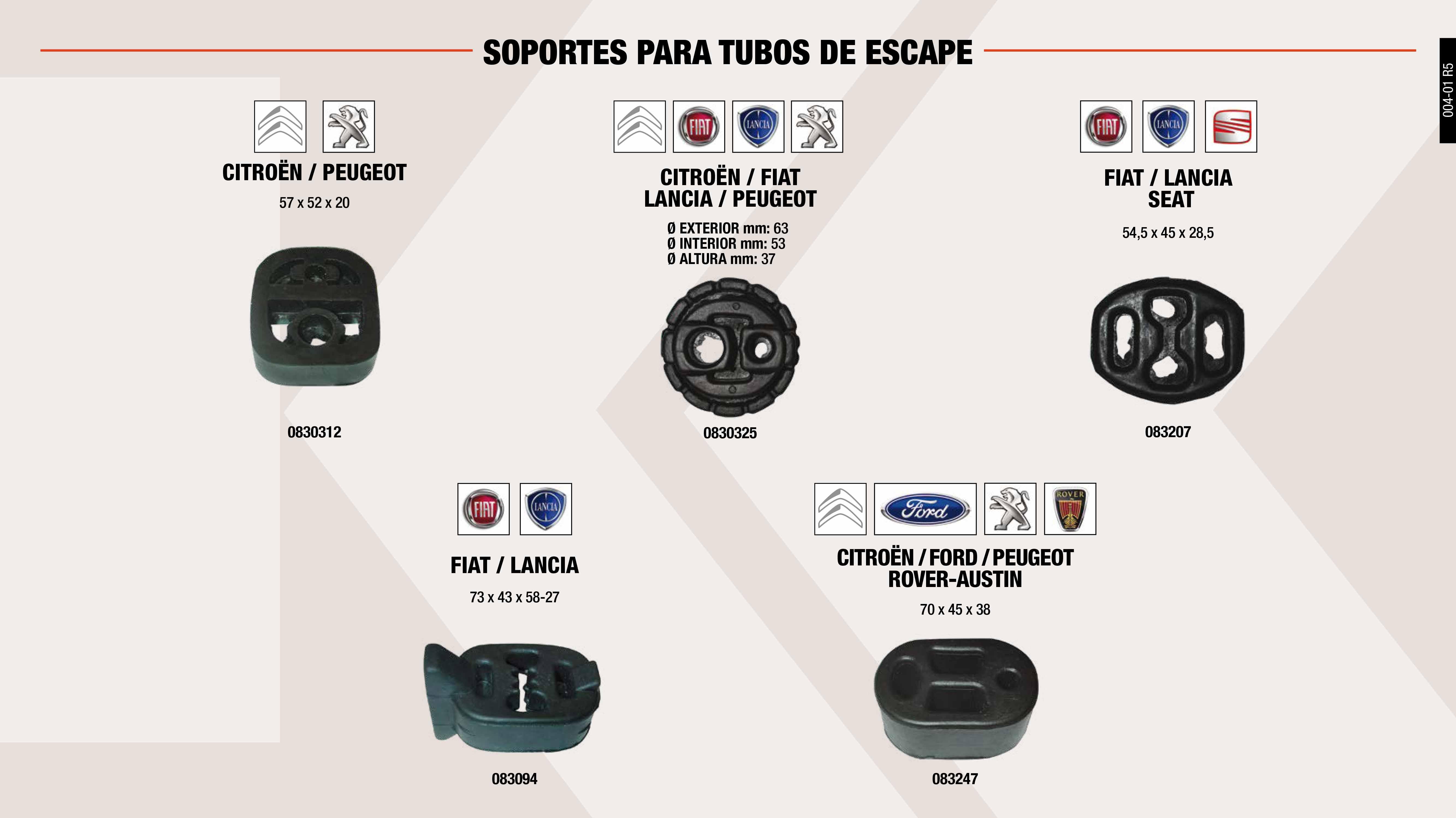 SOP.T.ESCAPE FORD FIESTA-ESCORT                             ,  SOP.T.ESCAPE FIAT TEMPRA                                    ,  SOP.T.ESCAPE SEAT                                           ,  SOP.T.ESCAPE PSA 57X52X20 MM                                ,  SOP.T.ESCAPE G.PSA-G FIAT 53X63X37 MM                       ,  SOP.T.ESCAPE FIAT                                           ,  SOP.T.ESCAPE SEAT 127                                       ,  SOP.T.ESCAPE SEAT PANDA-131 DIESEL                          ,  SOP.T.ESCAPE PSA-TALBOT 62X46X25 MM                         ,