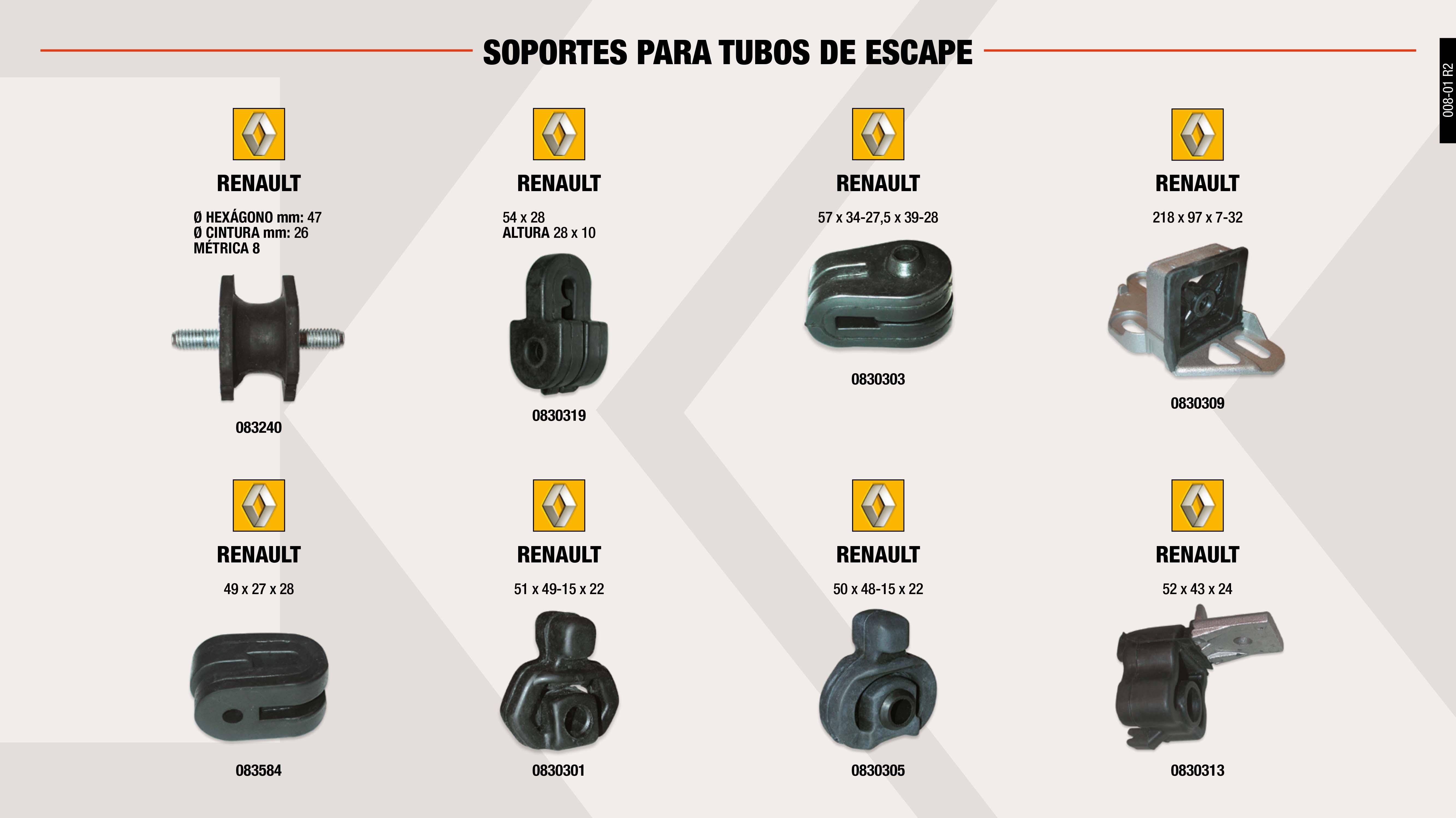 SOP.T.ESCAPE RENAULT EXPRESS-SUPER 5                        ,  SOP.T.ESCAPE RENAULT 57X34X39 MM                            ,  SOP.T.ESCAPE RENAULT 218X97X32 MM                           ,  SOP.T.ESCAPE RENAULT 50X48X22 MM                            ,  SOP.T.ESCAPE RENAULT 6                                      ,  SOP.T.ESCAPE R-18 (M-8)                                     ,  SOP.T.ESCAPE RENAULT 54X28X28 MM                            ,  SOP.T.ESCAPE RENAULT 52X43X24 MM                            ,  SOP.T.ESCAPE RENAULT 51X49X22 MM                            ,