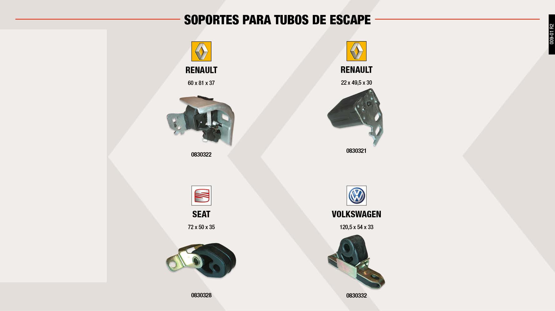 SOP.T.ESCAPE VW 120.5X54X33 MM                              ,  SOP.T.ESCAPE RENAULT 60X81X37 MM                            ,  SOP.T.ESCAPE SEAT 72X50X35 MM                               ,  SOP.T.ESCAPE RENAULT 22X49.5X30 MM                          ,