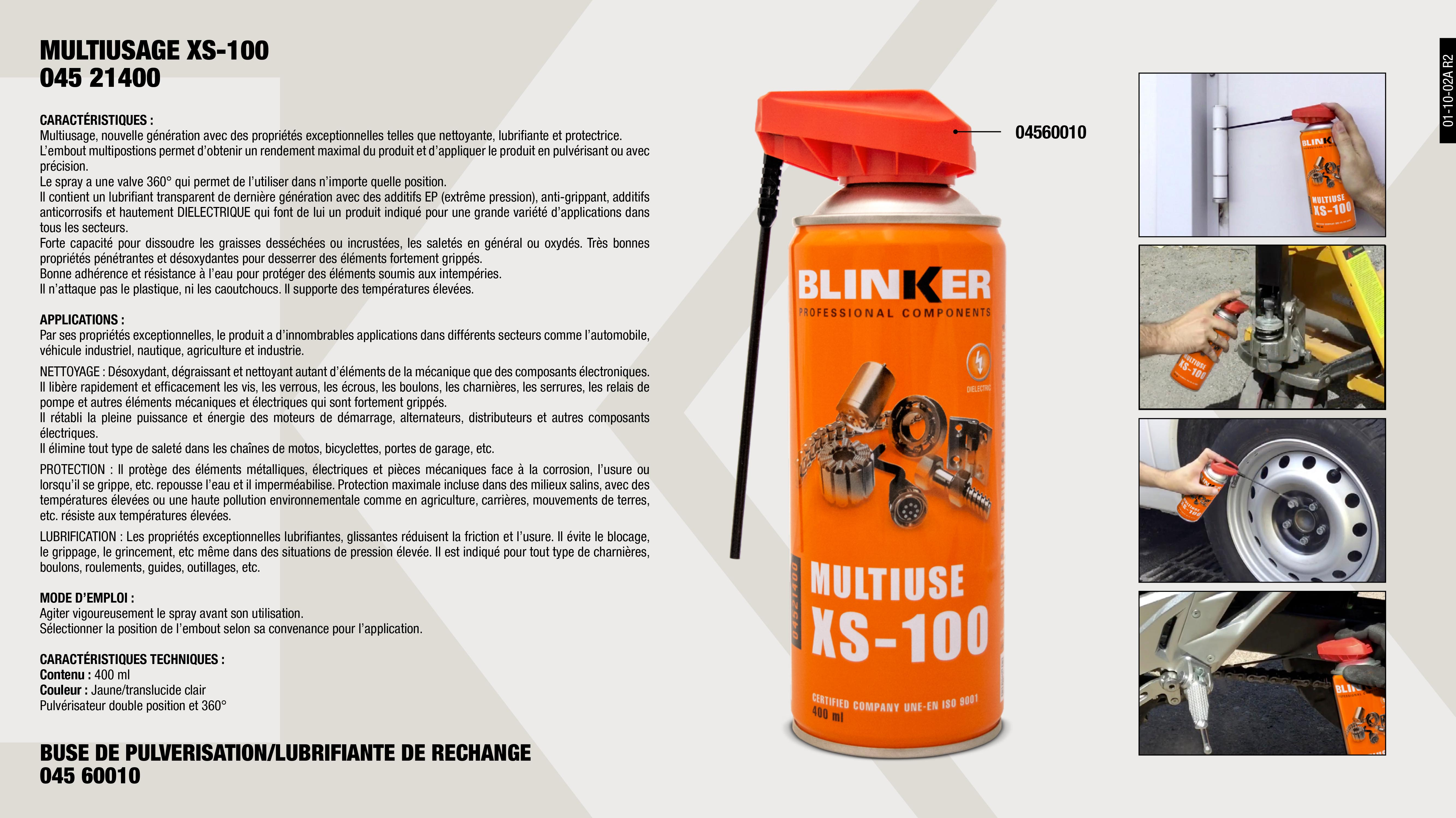 MULTI-USAGE XS-100 400ML                                    ,  									BUSE PULVERISATION DE RECHANGE SPRAY                        ,