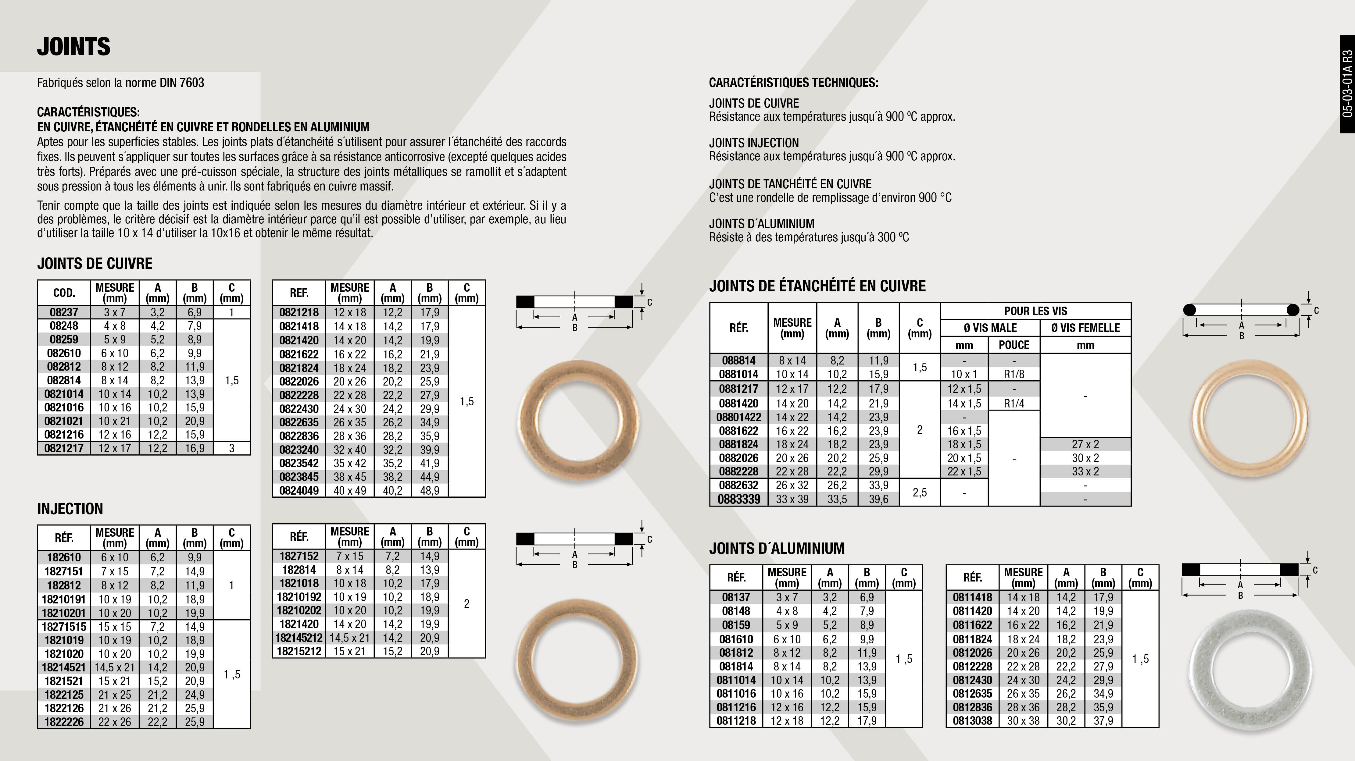 RONDELLE INJECTION 10X19X2                                  ,  									JOINT ALUMINIUM 3X7 MM                                      ,  									JOINT CUIVRE 20X26 MM                                       ,  									JOINT CUIVRE 4X8 MM                                         ,  									RONDELLE INJECTION 10X19X1,5                                ,  									JOINT CUIVRE 8X12 MM                                        ,  									JOINTS DE CUIVRE 26X35                                      ,  									RONDELLE INJECTION 6X10X1                                   ,  									RONDELLE INJECTION 8X12X1                                   ,  									JOINT CUIVRE 12X16 MM                                       ,  									JOINT ETANCH. CUIVRE 33X39MM                                ,  									JOINT ALUMINIUM 12X18 MM                                    ,  									JOINT ALUMINIUM 24X30 MM                                    ,  									JOINT CUIVRE 22X28 MM                                       ,  									RONDELLE CUIVRE 22X28                                       ,  									RONDELLE INJECTION 10X19X1                                  ,  									RONDELLE INJECTION 15X21X1,5                                ,  									RONDELLE INJECTION 8X14X2                                   ,  									JOINT ALUMINIUM 22X28 MM                                    ,  									JOINT ALUMINIUM 6X10 MM                                     ,  									JOINTS DE CUIVRE 40X49MM                                    ,  									RONDELLE INJECTION 22X26X1,5                                ,  									JOINT ALUMINIUM 14X18 MM                                    ,  									JOINT ALUMINIUM 4X8 MM                                      ,  									JOINT ALUMINIUM 8X12 MM                                     ,  									RONDELLE CUIVRE 12X17                                       ,  									RONDELLE CUIVRE NISSAN 12X17X3                              ,  									JOINTS DE CUIVRE 38X45 MM                                   ,  									JOINT CUIVRE 10X21X1,5MM                                    ,  									JOINT ALUMINIUM 10X16 MM                                    ,  									JOINT ALUMINIUM 16X22 MM                                    ,  									JOINT CUIVRE 14X18 MM                                       ,  									RONDELLE INJECTION 14X20X2                                  ,  									RONDELLE INJECTION 14,5X21X1,5                              ,  									RONDELLE INJECTION 21X26X1,5                                ,  									JOINT ALUMINIUM 5X9 MM                                      ,  									JOINT CUIVRE 5X9 MM                                         ,  									RONDELLE CUIVRE 16X22                                       ,  									JOINTS DE CUIVRE 35X42 MM                                   ,  									RONDELLE INJECTION 10X18X2                                  ,  									RONDELLE INJECTION 14,5X21X2                                ,  									JOINT CUIVRE 12X18 MM                                       ,  									JOINT CUIVRE 14X20 MM                                       ,  									JOINT CUIVRE 6X10 MM                                        ,  									RONDELLE CUIVRE 18X24                                       ,  									JOINTS DE CUIVRE 24X30                                      ,  									JOINT INJECTION 7X15X1                                      ,  									RONDELLE INJECTION 21X25X1,5                                ,  									JOINTS DE CUIVRE 28X36                                      ,  									JOINT ALUMINIUM 12X16 MM                                    ,  									JOINT ALUMINIUM 14X20 MM                                    ,  									JOINT ALUMINIUM 26X35 MM                                    ,  									JOINT CUIVRE 16X22 MM                                       ,  									RONDELLE CUIVRE 14X22                                       ,  									RONDELLE CUIVRE 8X14                                        ,  									JOINT ALUMINIUM 30X38 MM                                    ,  									RONDELLE CUIVRE 14X20                                       ,  									JOINTS DE CUIVRE 32X40                                      ,  									RONDELLE INJECTION 10X20X1,5                                ,  									RONDELLE INJECTION 15X21X2                                  ,  									JOINT ALUMINIUM 28X36 MM                                    ,  									JOINT CUIVRE 18X24 MM                                       ,  									JOINT CUIVRE 3X7 MM                                         ,  									JOINT CUIVRE 8X14 MM                                        ,  									RONDELLE INJECTION 10X20X1                                  ,  									JOINT ALUMINIUM 18X24 MM                                    ,  									JOINT ALUMINIUM 8X14 MM                                     ,  									JOINT CUIVRE 10X14 MM                                       ,  									JOINT INJECTION 7X15X2                                      ,  									RONDELLE INJECTION 10X20X2                                  ,  									JOINT ALUMINIUM 10X14 MM                                    ,  									JOINT ALUMINIUM 20X26 MM                                    ,  									JOINT CUIVRE 10X16 MM                                       ,  									RONDELLE CUIVRE 10X14                                       ,  									RONDELLE CUIVRE 20X26                                       ,  									RONDELLE CUIVRE 26X32                                       ,  									JOINT INJECTION 7X15X1,5                                    ,
