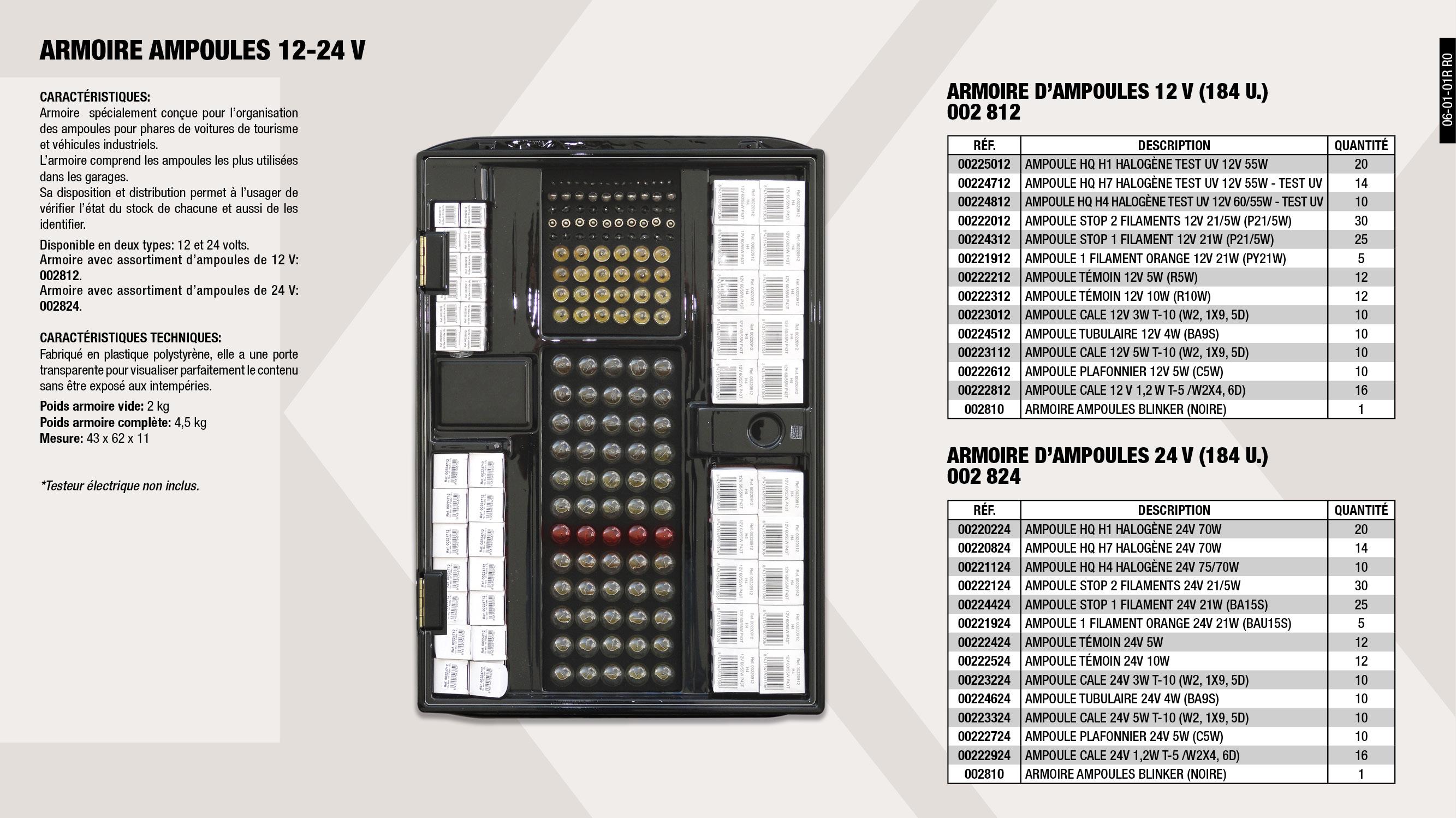 ARMOIRE AMPOULES WAHLEN BLACK 12V                           ,  AMPOULE HQ H7 HALOGENE 12V 55W TEST UV                      ,  ARMOIRE AMPOULES WAHLEN BLACK 24V                           ,  AMPOULE A CALER 12V 5W                                      ,  AMPOULE TUBULAIRE 24V 4W                                    ,  AMPOULE A CALER 24V 1,2W                                    ,  AMPOULE HQ H1 HALOGENE TEST UV 12V 55W                      ,  AMPOULE PLAFONNIER 12V 5W                                   ,  AMPOULE A CALER 24V 3W                                      ,  AMPOULE T/C HQ H1 HALOGENE 24V 70W                          ,  AMPOULE T/C HQ H4 HALOGENE 24V 75/70W                       ,  AMPOULE STOP 1 FILAMENT 12V 21W                             ,  AMPOULE STOP 1 FILAMENT 24V 21W                             ,  AMPOULE STOP 2 FILAMENT 24V 21/5W                           ,  AMPOULE A CALER 24V 5W                                      ,  AMPOULE PILOTE 12V 5W                                       ,  AMPOULE HQ H4 HALOGENE 12V 60W TEST UV                      ,  AMPOULE PILOTE 24V 5W                                       ,  ARMOIRE AMPOULES WAHLEN BLACK (VIDE)                        ,  AMPOULE PILOTE 12V 10W                                      ,  AMPOULE PLAFONNIER 24V 5W                                   ,  AMPOULE A CALER 12V 3W                                      ,  AMPOULE T/C HQ H7 HALOGENE 24V 70W                          ,  AMPOULE STOP 1 FILAMENT AMBAR 12V 21/21W                    ,  AMPOULE STOP 2 FILAMENT 12V 21/5W                           ,  AMPOULE 1 FILAMENT AMBRE 24V 21 W                           ,  AMPOULE A CALER 12V 1,2W                                    ,  AMPOULE TUBULAIRE 12V 4W                                    ,