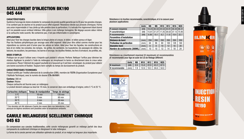 SCELLEMENT CHIMIQUE BLINKER 300 ML VINYLIQUE                ,  CANULE SCELLEMENT CHIMIQUE                                  ,