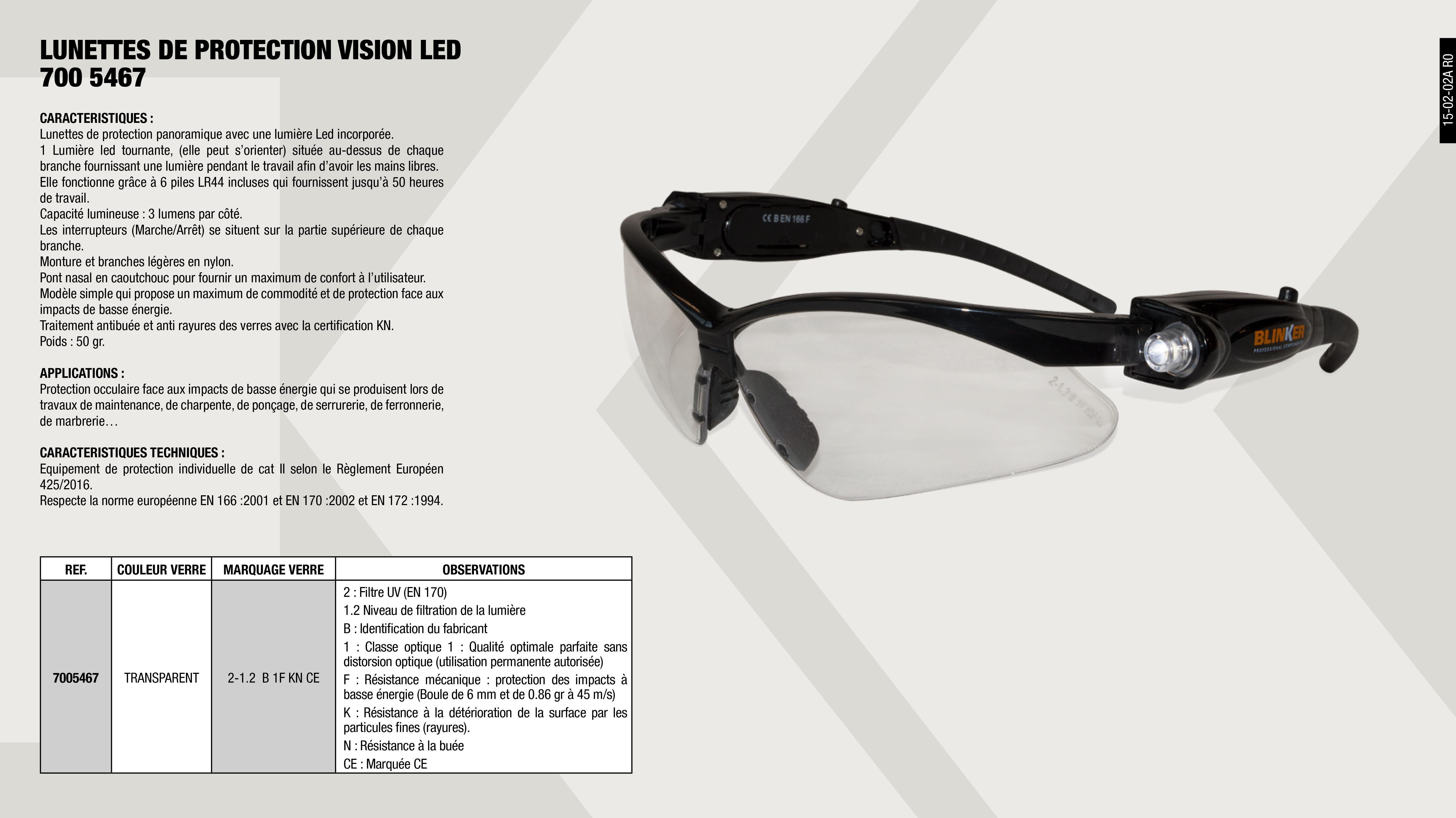 LUNETTES PROTECTION VISION LED TRANSPARENTE                 ,