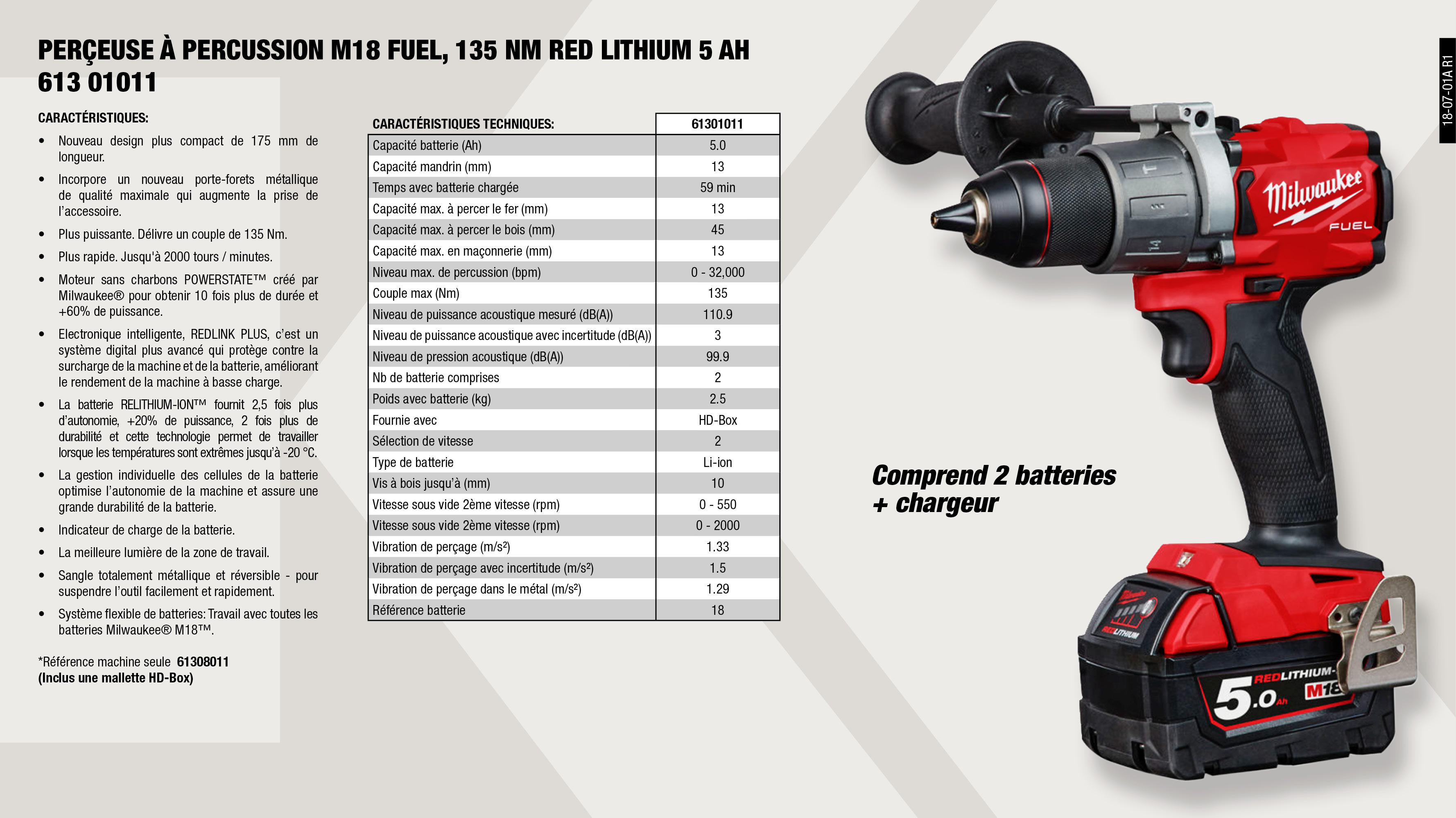 PERCEUSE À PERCU. M18 FUEL,135 NM RED LITHIUM 5 AH          ,  									PERCEUSE À PERCU. M18 FUEL, 135 NM SANS BATTERIE            ,