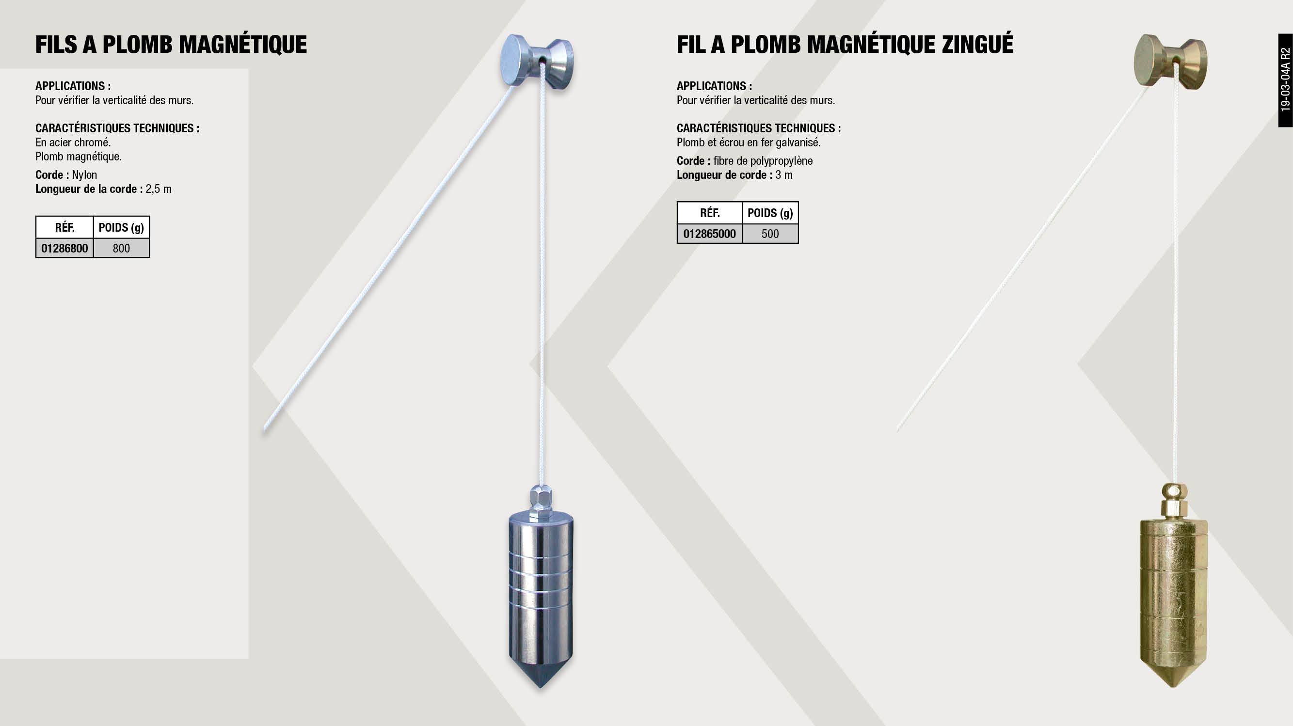 FIL A PLOMB MAGNETIQUE ZINGUE 500GR                         ,  FILS A PLOMB MAGNETIQUE 800G                                ,