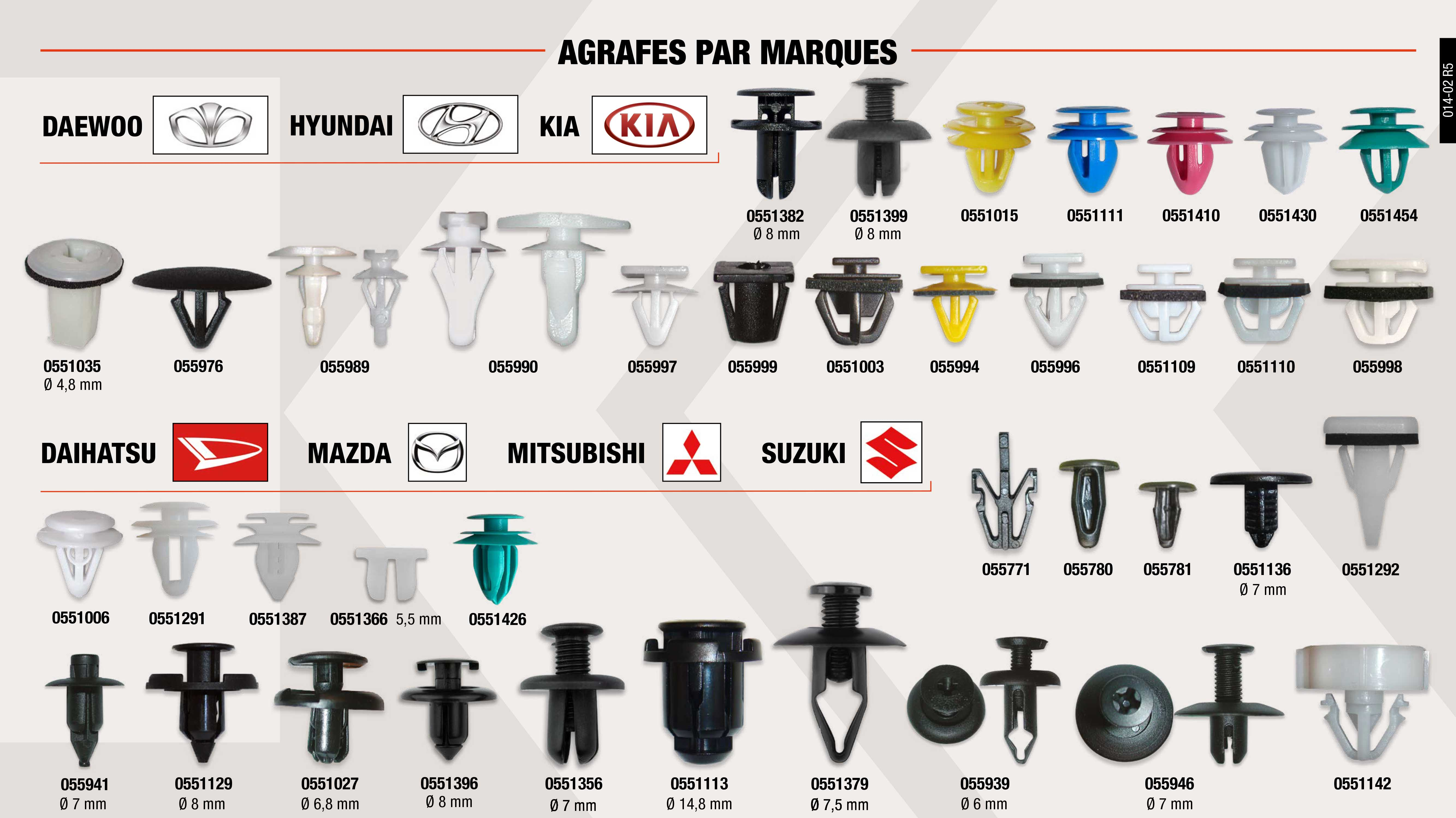 AGRAFE P.PORTE HYUNDAI JAUNE 17X12,5x8MM                    ,  AGRAFE MOUL.LAT.HYUNDAI BLANC 15,6X12,7X11MM                ,  BOUTON FIXATION MAZDA                                       ,  BOUTON ISOL.CAPOT FIAT NOIR 12X6X19MM                       ,  AGRAFE PVC TAPI-PARE-HON-MITS-NISS-NOIR.20X7,5X8MM          ,  AGRAFE MOUL.LAT.HYUNDAI BLANC 19,2X15,2X9MM                 ,  RIVET RADIATEUR-ROUE MITSUB. NOIR 16X14MM                   ,  CHEVIL.PVC PORT-MOUL.LAT.HYUND NAT. 20X17,8X9MM             ,  BOUTON COMP.MOTEUR HYUNDAI NOIR 26X14X4MM                   ,  AGRAFE MOUL.LATERALE HYUNDAI BLANC 10X13.6MM                ,  AGRAFE MOUL.LATERALE HYNDAI-KIA BLANC 10X14MM               ,  AGRAFE PAREBRISE FIAT-SUZU BLANC 12,87X7MM                  ,  AGRAFE MOUL.LAT SUZUKI BLC 15,7X11X8MM                      ,  RIVET TAPISS. SUZUKI NOIR 15X13MM                           ,  RIVET PARAP. SUZUKI NOIR 20X9MM                             ,  RIVET ROUE FIAT-SUZUKI-TOYOTA NOIR Ø7X20X10X3MM             ,  AGRAFE RADIATEUR HONDA-MAZDA-TOYOTA                         ,  AGRAFE MOUL.LAT.HYUNDAI JAUNE 15X11,8X10MM                  ,  AGRAFE MOUL.LAT.HYUNDAI. BLANC 16X10,5X8MM                  ,  AGRAFE MOUL.LAT.HYUNDAI NOIR 12,7X11X10,6MM                 ,  AGRAFE MOUL.LAT.HYUNDAI NOIR. 17,7X13,7X10MM                ,  BOUTON FIXATION MAZDA                                       ,  RIVET PAS.ROUE FIAT SUZUKI NOIR                             ,  AGRAFE CAOUTCH PTA.HYUNDAI BLANC 9X10,9X5,3MM               ,  RIVET TAPISS. SUZUKI NOIR 16X12X9MM                         ,  AGRAFE TAPIS.PORTE MITSUBISHI BLANC 11,5X8,6MM              ,  AGRAFE CAOUTCH. PTA HYUNDAI BLANC 9,6X12x5,7MM              ,  AGRAFE MOUL.LATERAL. MITSUBISHI BLANC 21X6,2MM              ,  AGRAFE PANNEAU PORTE HYUNDAI BLEU 12X9.7MM                  ,