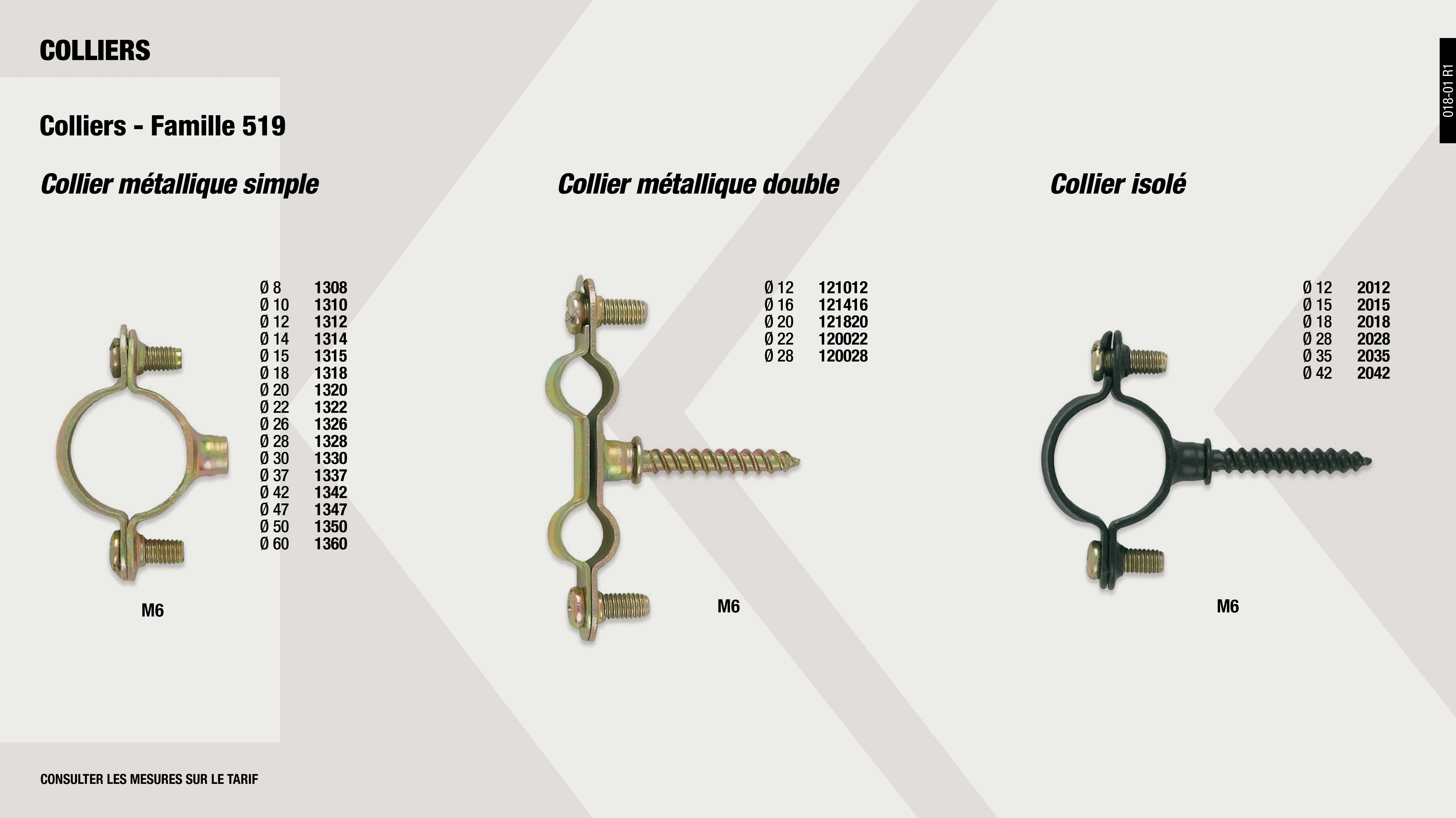 COLLIER METALLIQUE SIMPLE 24 MM                             ,  									COLLIER METALLIQUE SIMPLE 26 MM                             ,  									COLLIER METALLIQUE SIMPLE 50 MM                             ,  									COLLIER 18 MM ISOLE NOIR M6                                 ,  									COLLIER METALLIQUE DOUBLE 22MM                              ,  									COLLIER 28 MM ISOLE NOIR M6                                 ,  									COLLIER METALLIQUE SIMPLE 20 MM                             ,  									COLLIER METALLIQUE SIMPLE 30 MM                             ,  									COLLIER 15 MM ISOLE NOIR M6                                 ,  									COLLIER METALLIQUE DOUBLE 12 MM                             ,  									COLLIER METALLIQUE SIMPLE 15 MM                             ,  									COLLIER METALLIQUE SIMPLE 28 MM                             ,  									COLLIER METALLIQUE SIMPLE 47 MM                             ,  									COLLIER METALLIQUE SIMPLE 37 MM                             ,  									COLLIER METALLIQUE SIMPLE 60 MM                             ,  									COLLIER 35 MM ISOLE NOIR M6                                 ,  									COLLIER METALLIQUE DOUBLE 28 MM                             ,  									COLLIER METALLIQUE DOUBLE 16 MM                             ,  									COLLIER METALLIQUE SIMPLE 14 MM                             ,  									COLLIER METALLIQUE SIMPLE 22 MM                             ,  									COLLIER 12 MM ISOLE NOIR M6                                 ,  									COLLIER 42 MM ISOLE NOIR M6                                 ,  									COLLIER METALLIQUE DOUBLE 20 MM                             ,  									COLLIER METALLIQUE SIMPLE 8 MM                              ,  									COLLIER METALLIQUE SIMPLE 12 MM                             ,  									COLLIER METALLIQUE SIMPLE 18 MM                             ,  									COLLIER METALLIQUE SIMPLE 10 MM                             ,  									COLLIER METALLIQUE SIMPLE 42 MM                             ,
