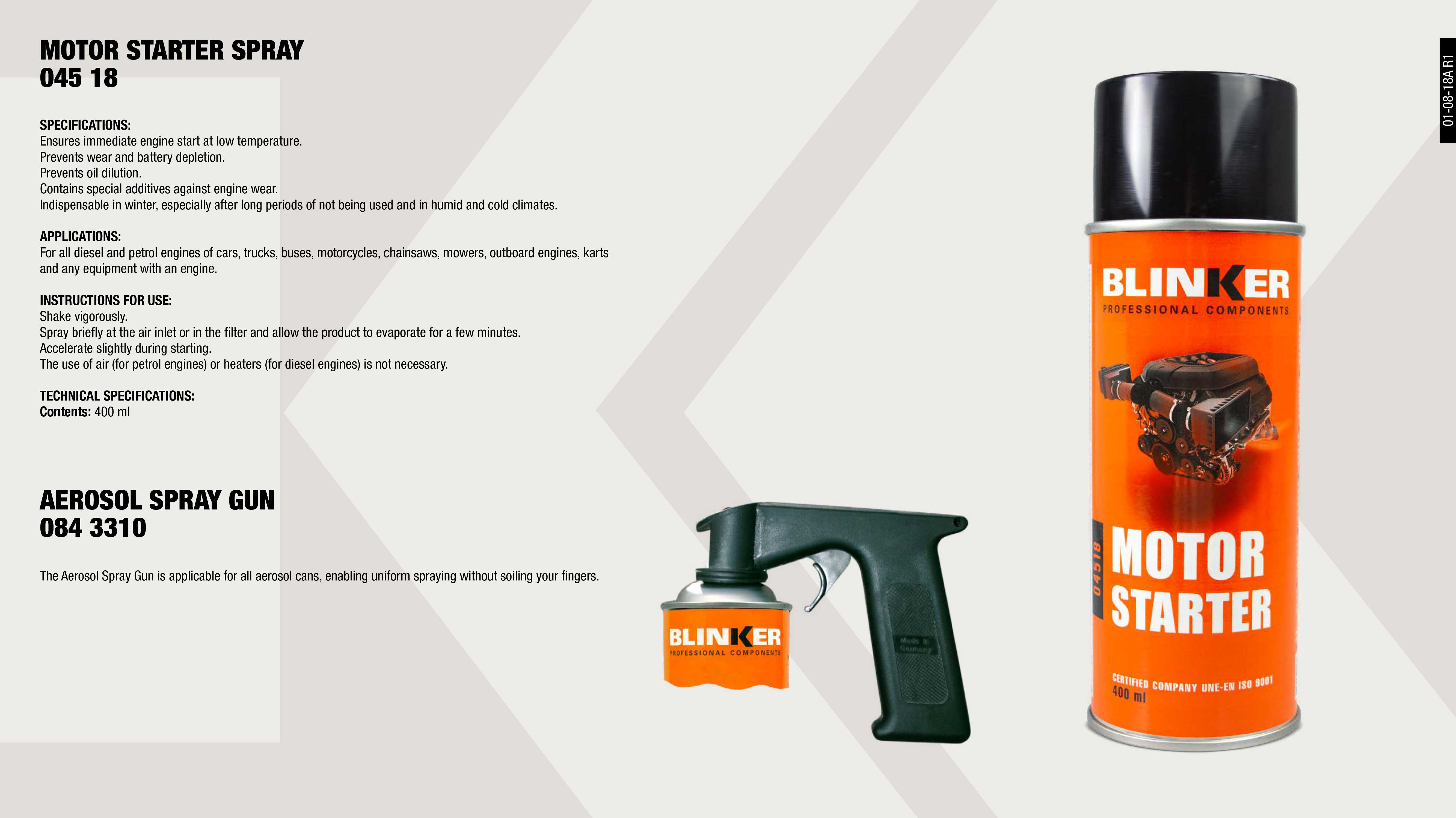 MOTOR STARTER BLINKER 400ML.                                ,  									SPRAY AEROSOL GUN                                           ,