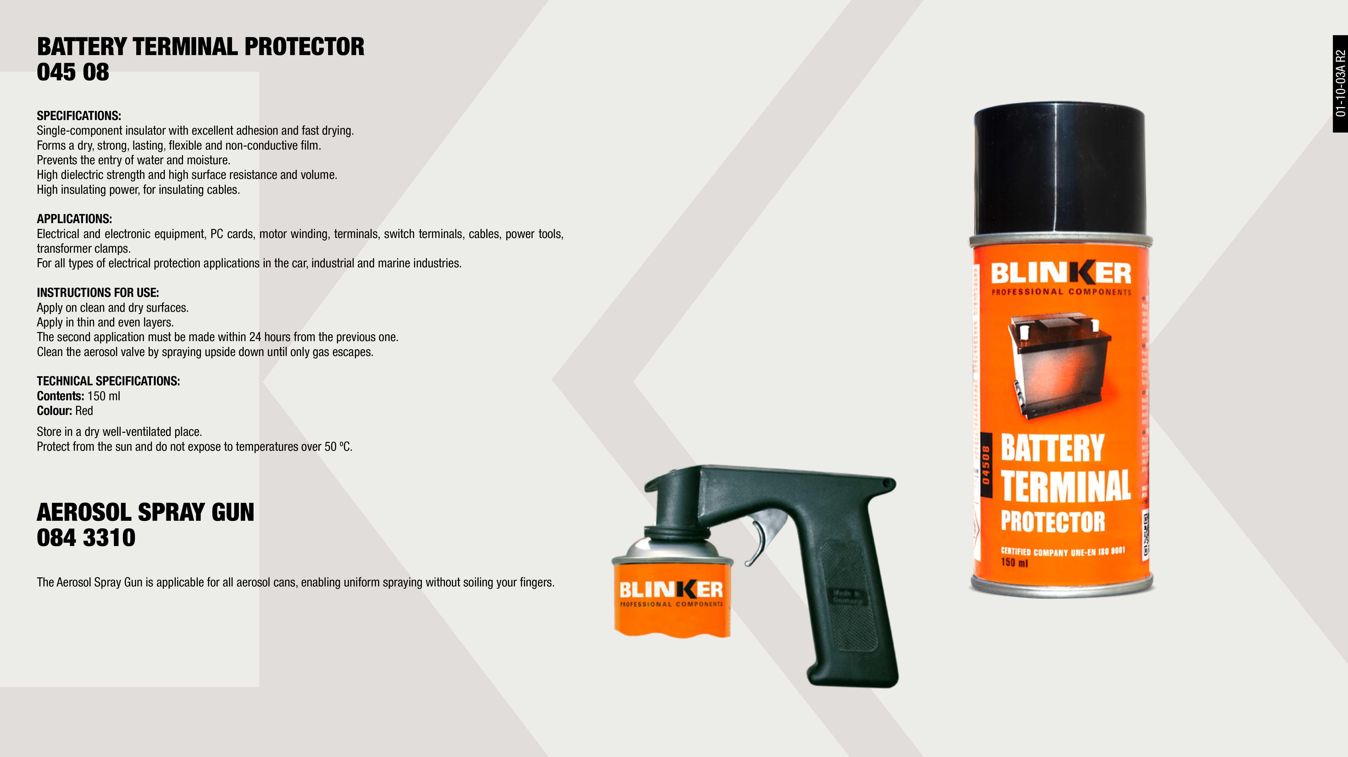 BATERY TERMINALS PROTECTIVE SPRAY BLINKER 150 ML            ,  SPRAY AEROSOL GUN                                           ,