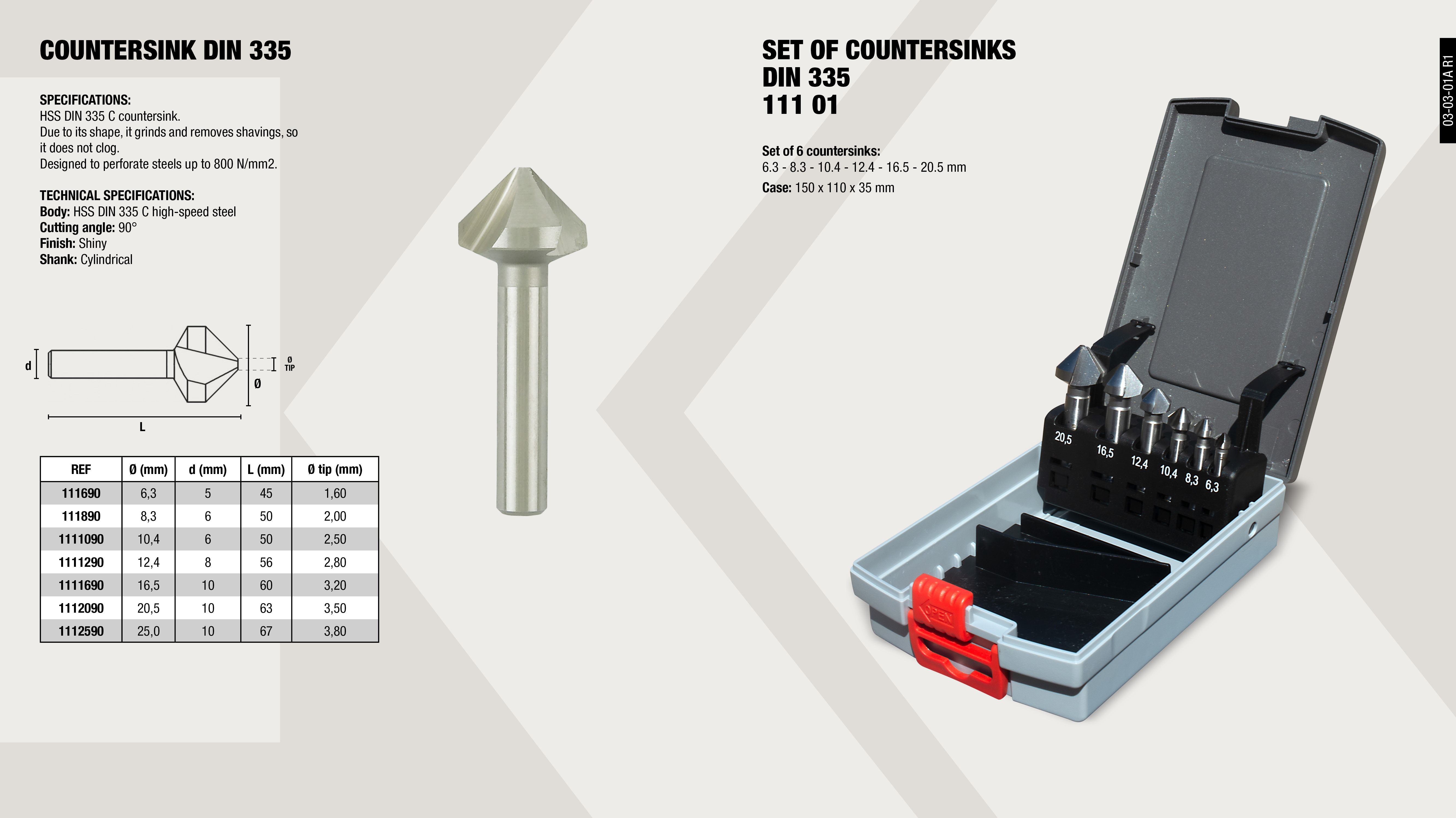 COUNTERSINK CUTTER SET DIN 335                              ,
