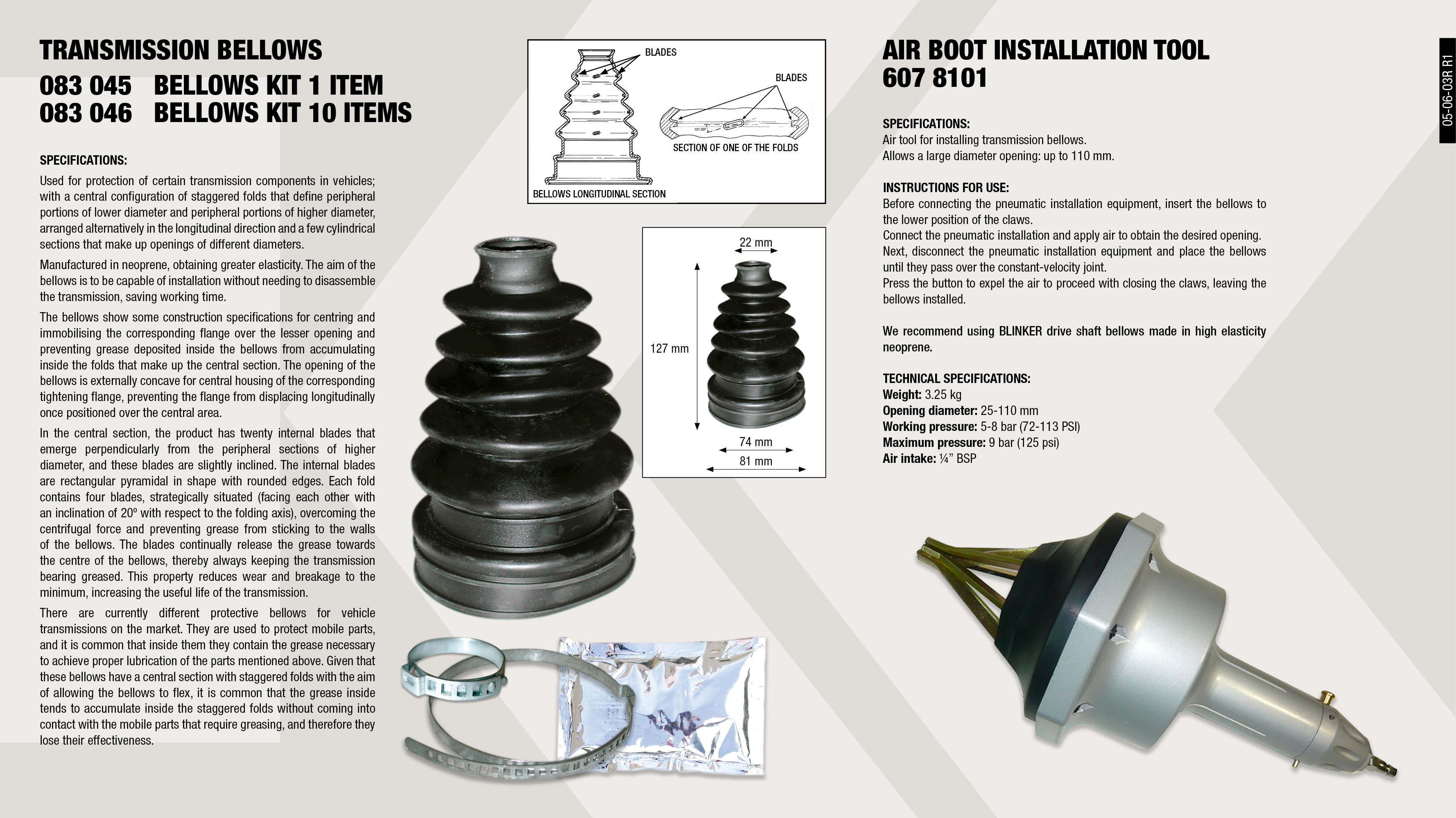 AIR BOOT INSTALATION TOOL                                   ,  									TRANSMISION BOLT KIT                                        ,  									TRANSMISION BOLT KIT (10U.)                                 ,