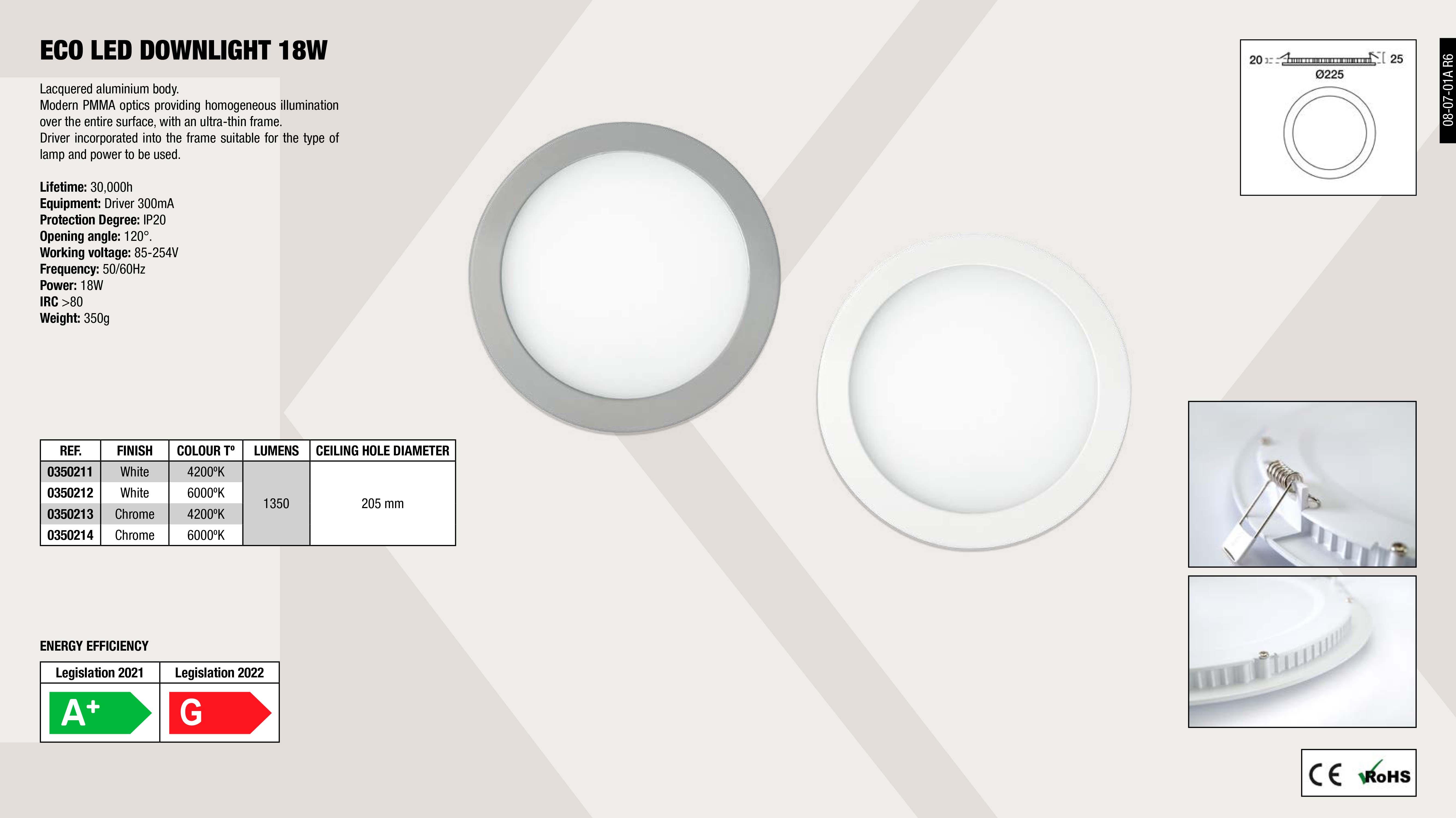 DOWNLIGHT MICRO LED INOX 7,7                                ,  DOWNLIGHT ECO LED INOX 18W 50                               ,  DOWNLIGHT ECO LED WHITE 18W 5                               ,  DOWNLIGHT ECO LED WHITE 18W 4                               ,  DOWNLIGHT ECO LED INOX 18W 40                               ,  DOWNLIGHT MICRO LED WHITE 7,7                               ,