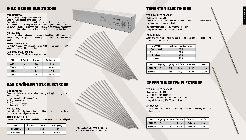 GREEN TUNGSTEN ELECTRODE 1.6                                ,  GOLD SERIES ELECTRODES 3.2X350MM                            ,  BASIC WÄHLEN 7018 ELECTRODE 2.5X350MM                       ,  GREEN TUNGSTEN ELECTRODE 2.4                                ,  GREY TUNGSTEN ELECTRODE 2.4                                 ,  GOLD SERIES ELECTRODES 2X350MM                              ,  GOLD SERIES ELECTRODES 2.5X350MM                            ,  BASIC WÄHLEN 7018 ELECTRODE 3.25X350MM                      ,  GREY TUNGSTEN ELECTRODE 1.6                                 ,  GOLD SERIES ELECTRODES 4X350MM                              ,