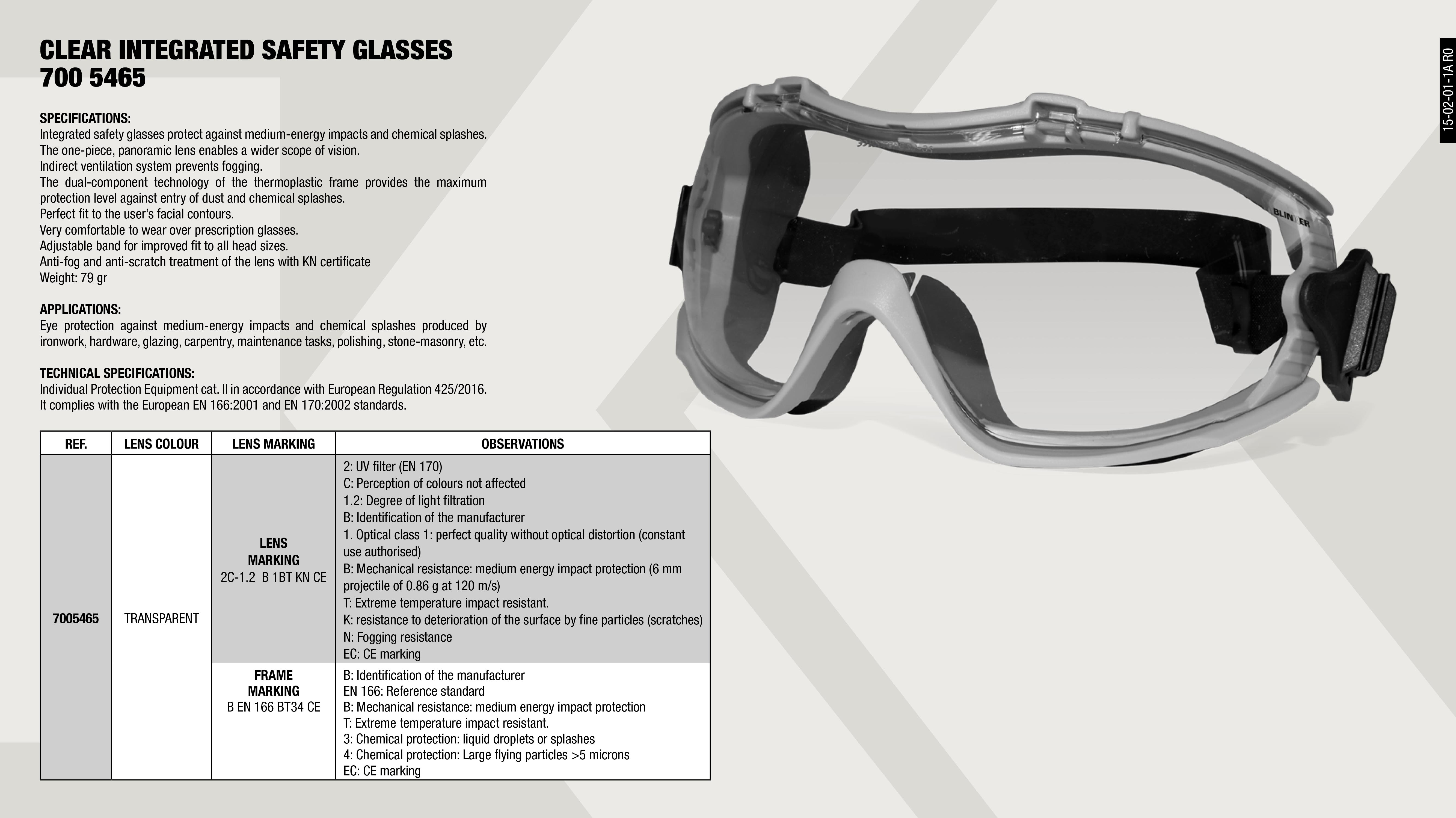 SAFETY GLASSES INTEGRAL CLEAR                               ,