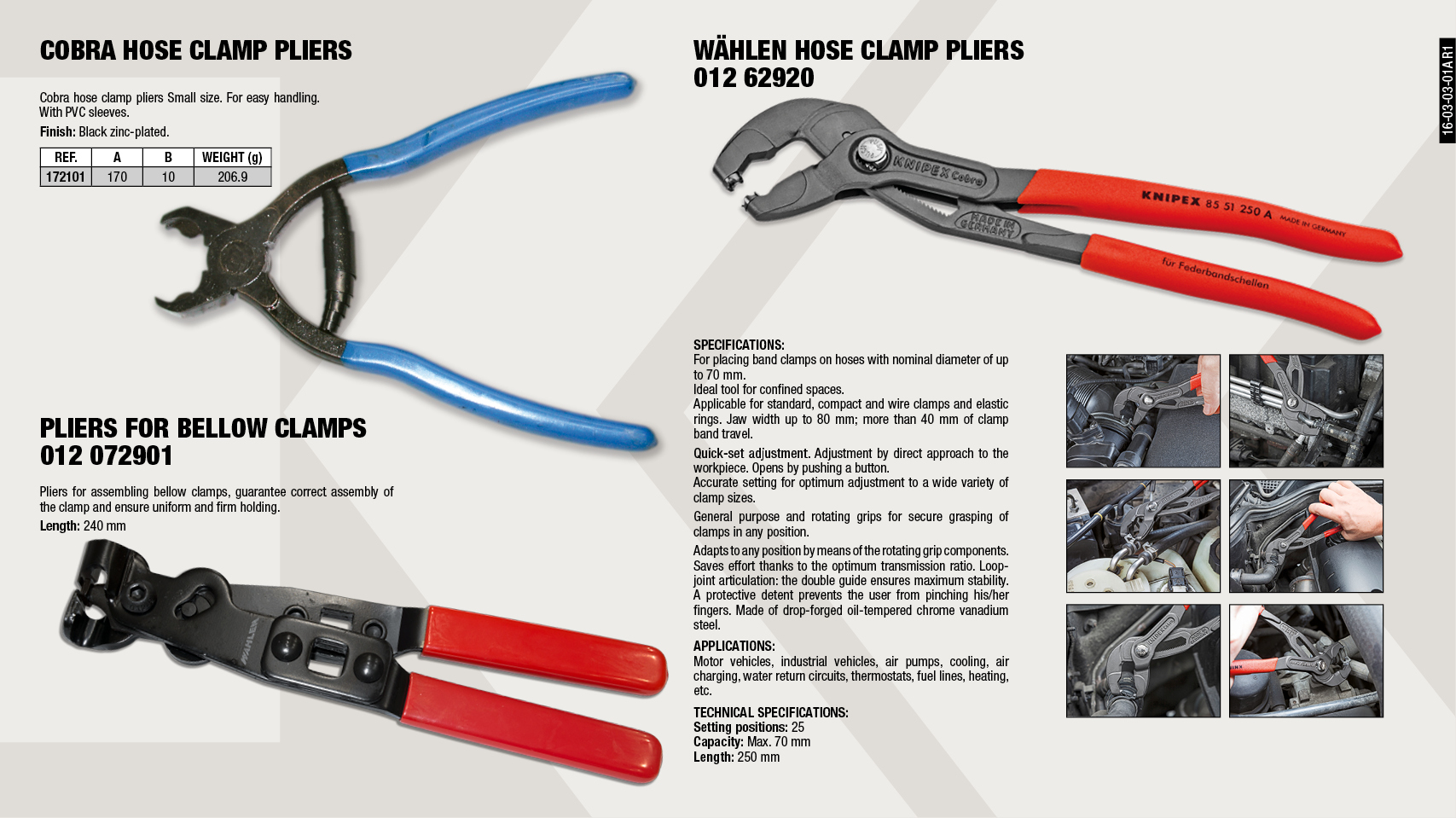 COBRA CLAMPS PLIER                                          ,  									CV BOOT CLAMP PLIER                                         ,  									SPRING HOSE CLAMP PLIER                                     ,