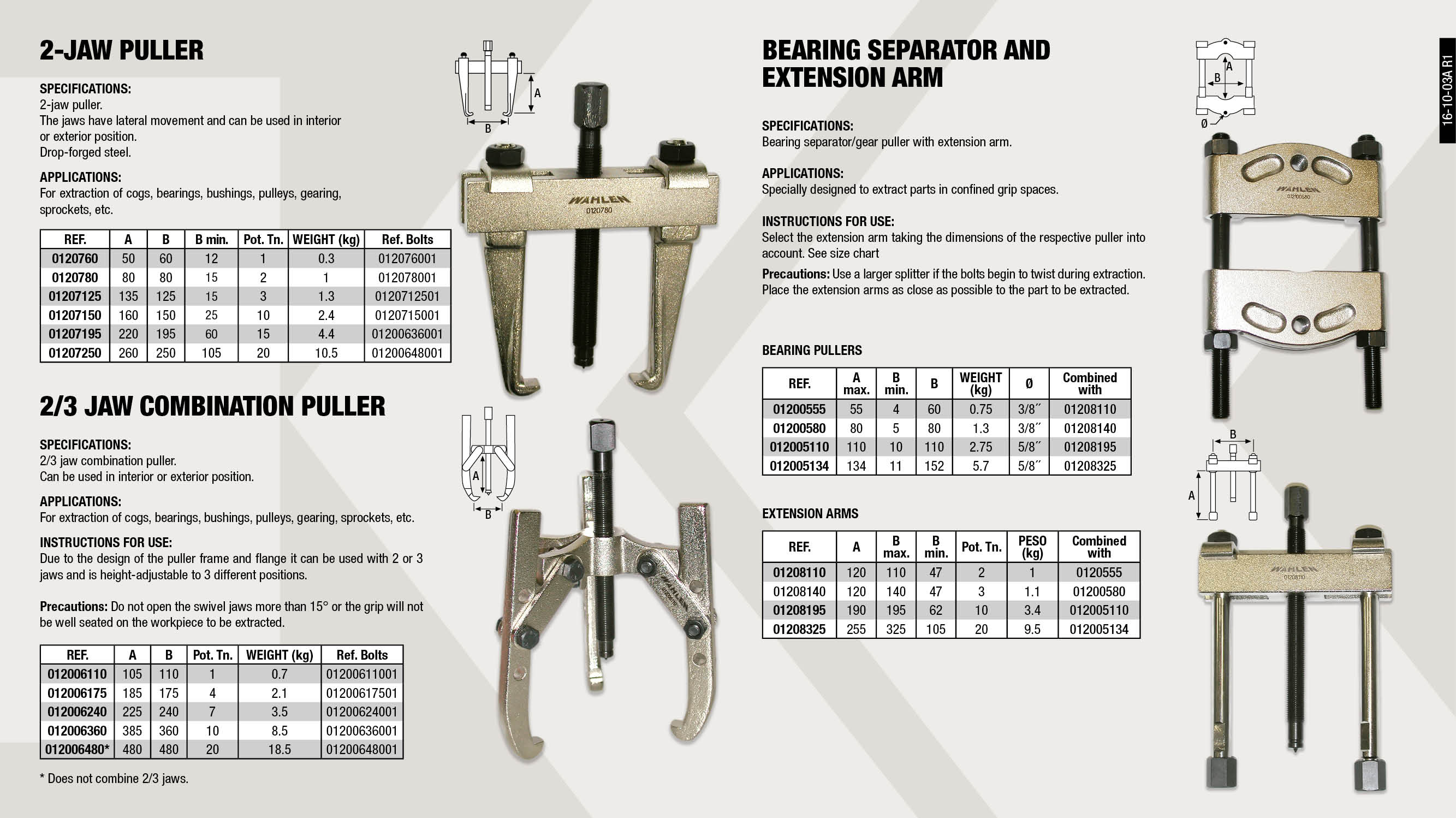 SWAYING JAWS PULLER 185X175MM                               ,  									2 FIXED JAWS PULLER 50X60 MM                                ,  									2 FIXED JAWS PULLER 220X195MM                               ,  									PULLING BOLT 012006360-01207195                             ,  									PULLING BOLT 012006480-01207250                             ,  									BEARING PULLER 80X80                                        ,  									SWAYING JAWS PULLER 105X110MM                               ,  									PUSH PULLER EXTENDER 190X195 MM                             ,  									PULLER BEARING PULLER 152X134                               ,  									BEARING PULLER 60X55                                        ,  									BEARING PULLER 110X110                                      ,  									2 FIXED JAWS PULLER 80X80MM                                 ,  									PULLING BOLT 012006240                                      ,  									PULLING BOLT 0120760                                        ,  									SWAYING JAWS PULLER 385X360 MM                              ,  									PULLING BOLT 012006110                                      ,  									PUSH PULLER EXTENDER 255X325 TRUCK                          ,  									SWAYING JAWS PULLER 480X480 MM                              ,  									PULLING BOLT 012006175                                      ,  									PUSH PULLER EXTENDER 120X110MM                              ,  									2 FIXED JAWS PULLER 260X250 V.I.                            ,  									2 FIXED JAWS PULLER 160X150MM                               ,  									SWAYING JAWS PULLER 225X240 MM                              ,  									PUSH PULLER EXTENDER 120X140MM                              ,  									PULLING BOLT 01207150                                       ,  									2 FIXED JAWS PULLER 135X125MM                               ,  									PULLING BOLT 01207125                                       ,  									PULLING BOLT 0120780                                        ,