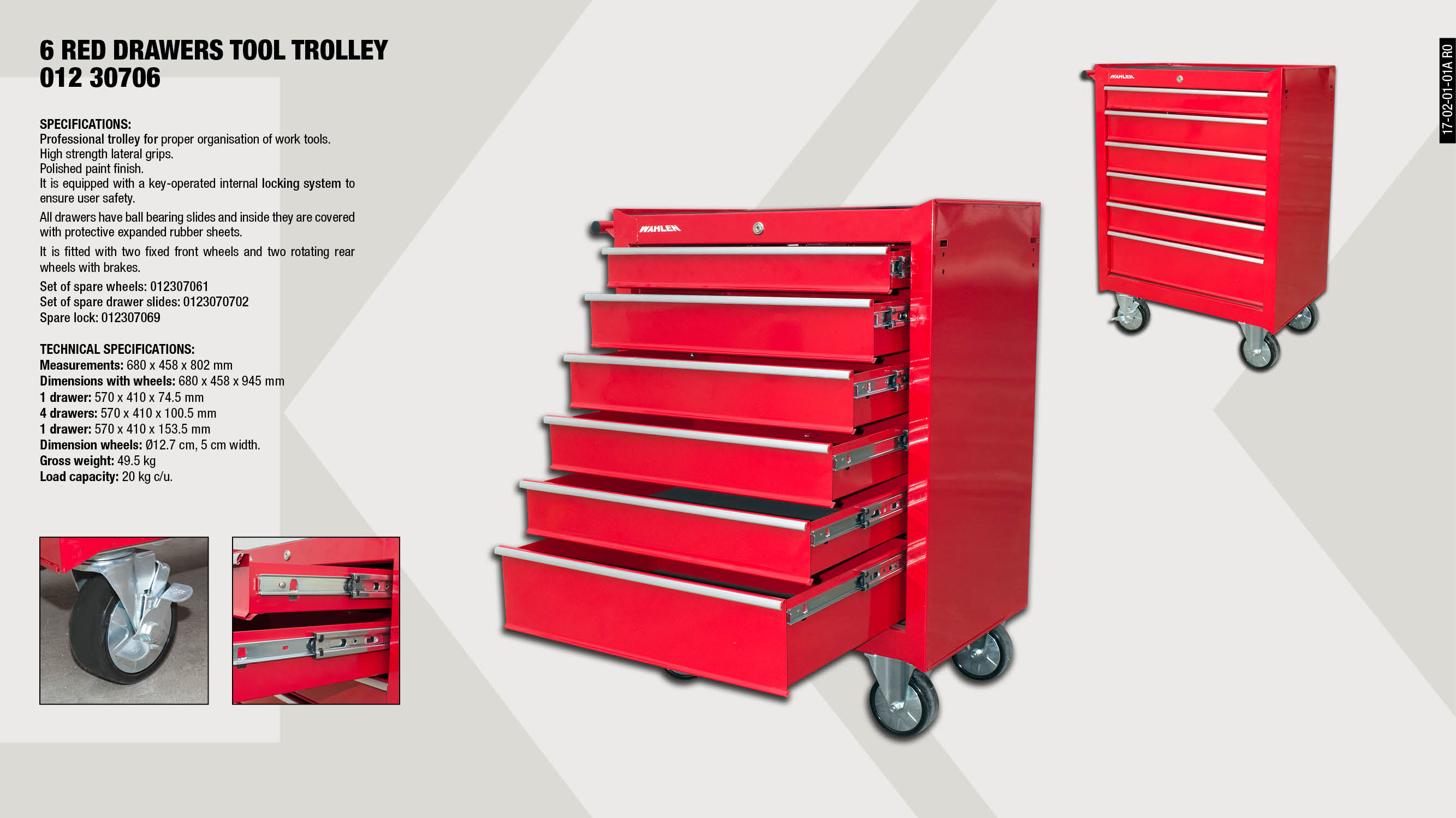 WHEEL SET CABINET 6 DRAWERS                                 ,  									LOCK FOR REF. 01230706                                      ,  									SET OF 2 SPARE DRAWER SLIDES                                ,  									6 RED DRAWERS TOOL TROLLEY                                  ,