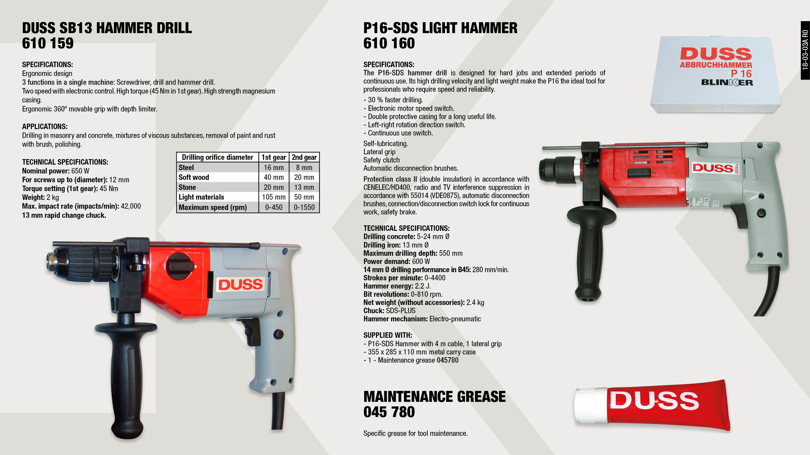 DRILL/ROTARY HAMMER P16 SDS-PLUS 2.4KG 600W                 ,  									MAINTENANCE GREASE                                          ,  									ELECTRONIC DRILL HAMMER 650W                                ,