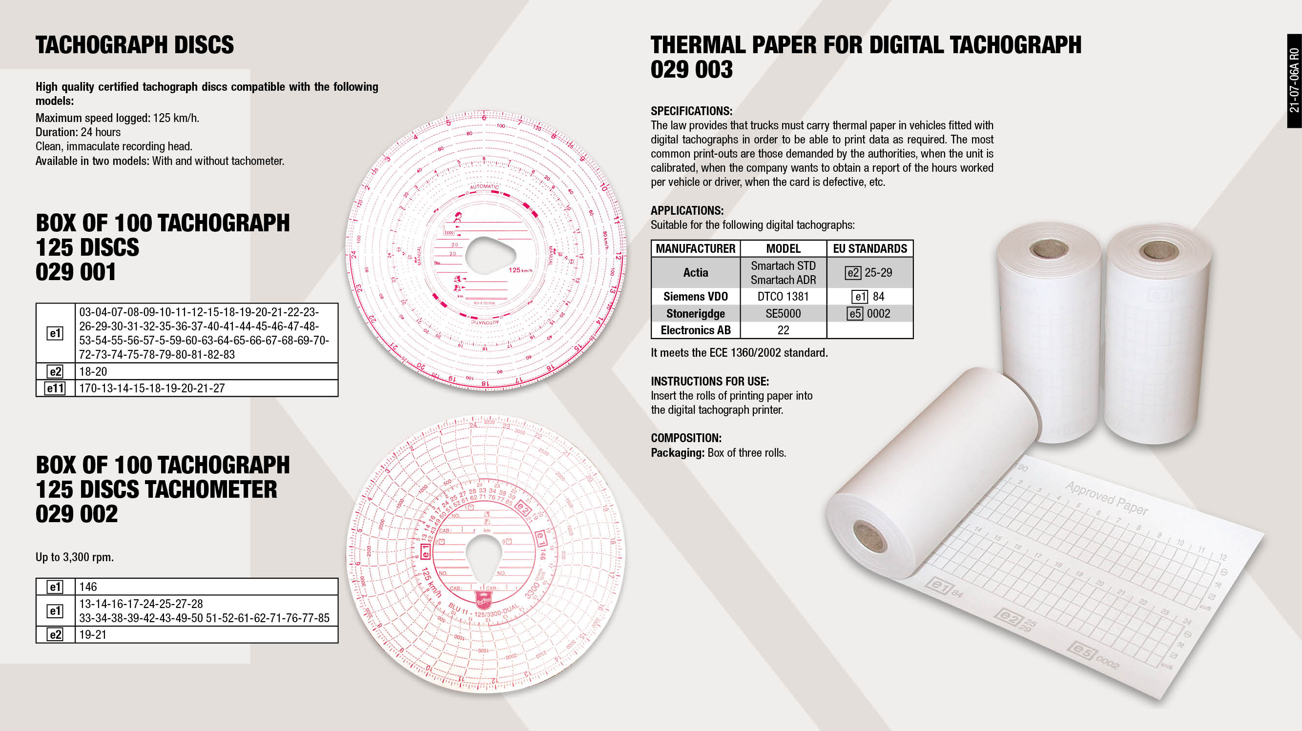 BOX OF 100 TACHOGRAPH CHARTS 125 KM/H.                      ,  									BOX OF 100 TACHOGRAPH CHARTS 125 KM/H. (3.300 RPM)          ,  									BOX OF 3 THERMAL ROLLS FOR DIGITAL TACHOGRAPHS              ,