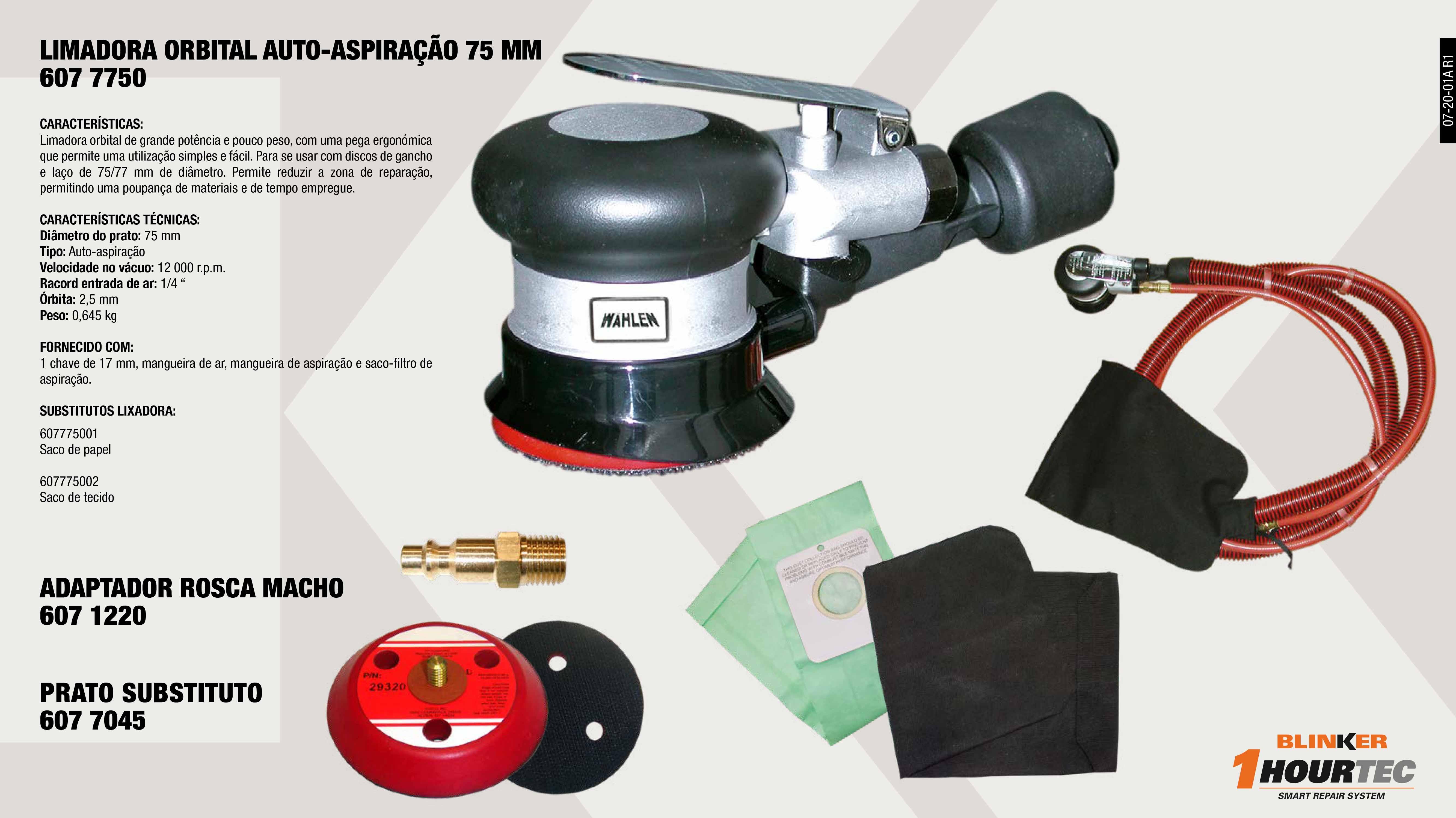 BOLSA PAPEL 6077750                                         ,  RECORD AR R/M 1/4 883L/MN                                   ,  BOLSA TELA 6077750                                          ,  LIXADORA ORBITAL AUTO-ASPIRACÃO                             ,