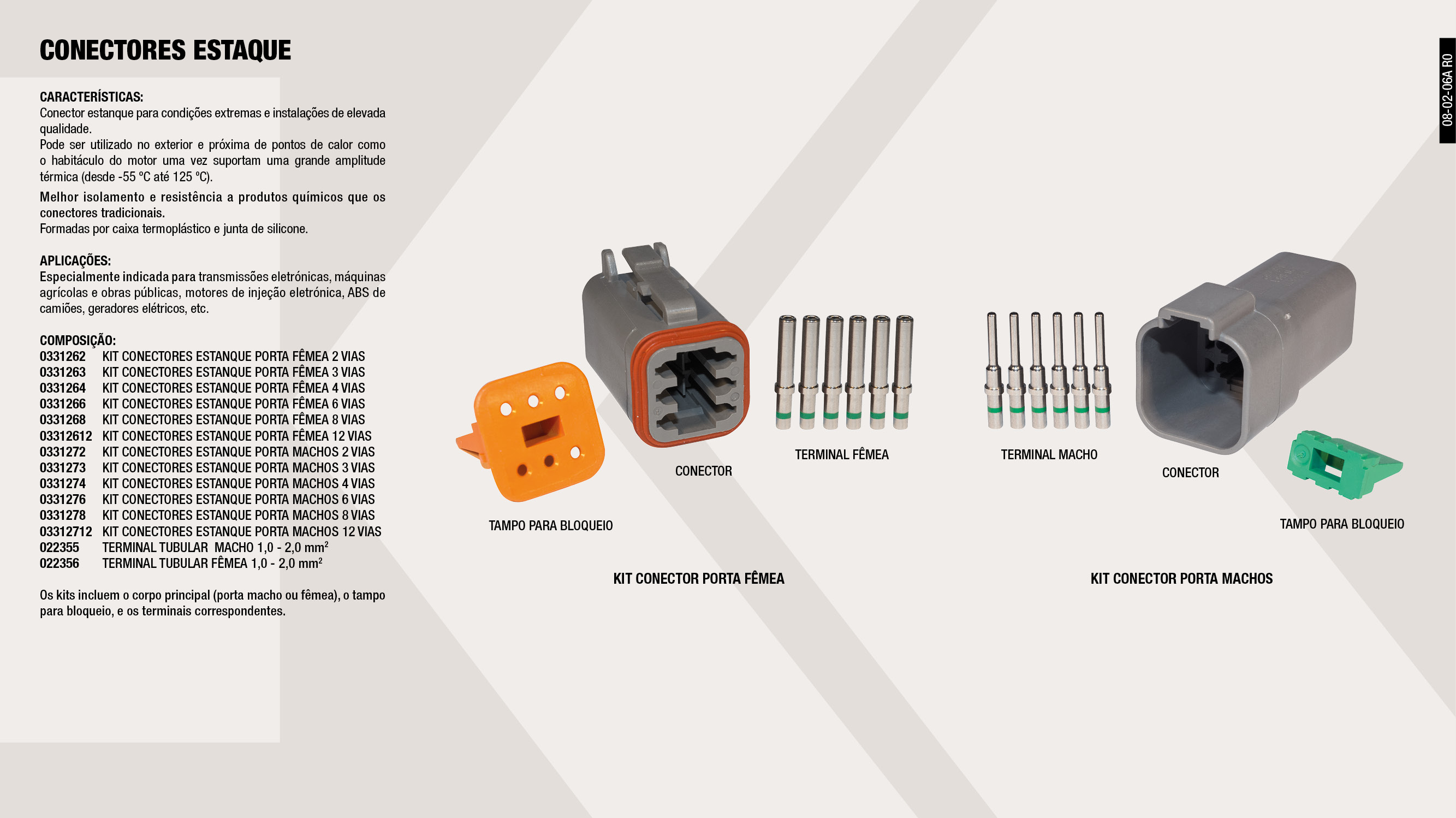 KIT CONECTOR ESTANCO PORTA MACHOS 6 VIAS                    ,  									KIT CONECTOR ESTANCO PORTA FEMEAS 4 VIAS                    ,  									TERMINAL TUBULAR  MACHO 1,0-2,0 MM2                         ,  									TERMINAL TUBULAR FEMEA 1,0-2,0 MM2                          ,  									KIT CONECTOR ESTANCO PORTA MACHOS 12 VIAS                   ,  									KIT CONECTOR ESTANCO PORTA FEMEAS 6 VIAS                    ,  									KITCONECTOR ESTANCO PORTA MACHOS 3 VIAS                     ,  									KIT CONECTOR ESTANCO PORTA FEMEAS 2 VIAS                    ,  									KIT CONECTOR ESTANCO PORTA FEMEAS 8 VIAS                    ,  									KIT CONECTOR ESTANCO PORTA MACHOS 8 VIAS                    ,  									KIT CONECTOR ESTANCO PORTA MACHOS 4 VIAS                    ,  									KIT CONECTOR ESTANCO PORTA FEMEAS 3 VIAS                    ,  									KIT CONECTOR ESTANCO PORTA MACHOS 2 VIAS                    ,  									KIT CONECTOR ESTANCO PORTA FEMEAS 12 VIAS                   ,
