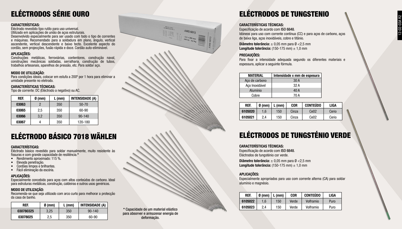 ELECTRODOS SERIE OURO 4 X 350                               ,  ELECTRODO BASICO 7018 2,5 X 350                             ,  ELECTRODO DE TUNGSTENO VERDE                                ,  ELÉCTRODO DE TUNGSTENO CINZENTO CÉRIO 1.6                   ,  ELECTRODO BASICO 7018 3,25 X 350                            ,  ELECTRODO DE TUNGSTENO VERDE                                ,  ELECTRODO RUTILO SERIE OURO 2X350                           ,  ELECTRODOS SERIE OURO 3,2 X 350                             ,  ELÉCTRODO DE TUNGSTENO CINZENTO CÉRIO 2,4                   ,  ELECTRODOS SERIE OURO 2,5 X 350                             ,