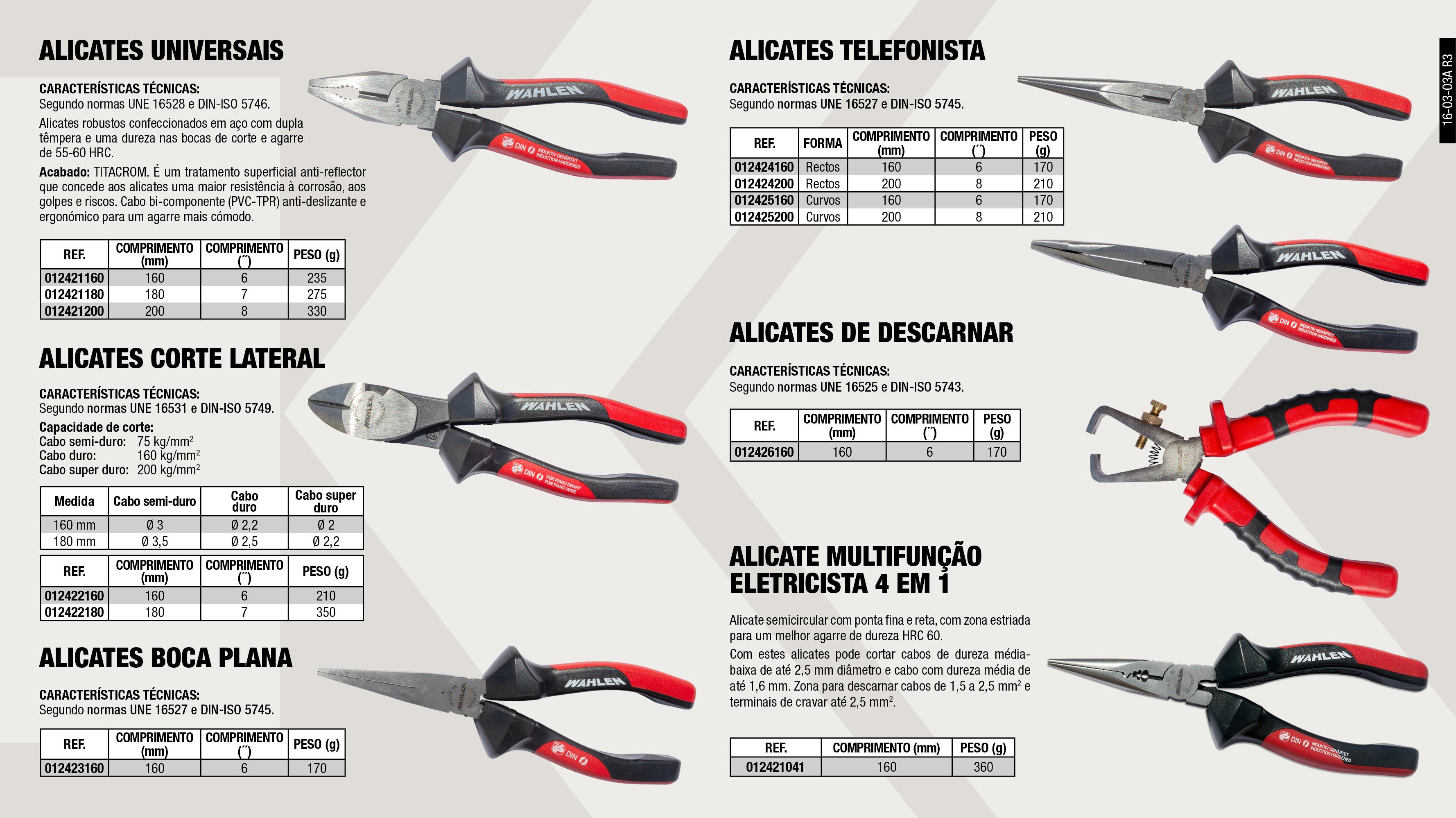 ALICATE UNIVERSAL 180MM 7'                                  ,  ALICATE UNIVERSAL 160MM 6'                                  ,  ALICATE DE TELEFONE CURVO 200MM 8'                          ,  ALICATE CORTE LATERAL 180MM 7'                              ,  ALICATE MULTIFUNÇÕES ELECTRICISTA 4 EN 1                    ,  ALICATE DE TELEFONE 160MM 8'                                ,  ALICATE DE TELEFONE 200MM 8'                                ,  ALICATE UNIVERSAL 200MM 8'                                  ,  ALICATE CORTE LATERAL 160MM 6'                              ,  ALICATE DE BOCA PLANA 160MM 6'                              ,  ALICATE DE TELEFONE CURVO 160MM 6'                          ,  ALICATE DESCARNADOR AUTOMATICO 160MM 6'                     ,