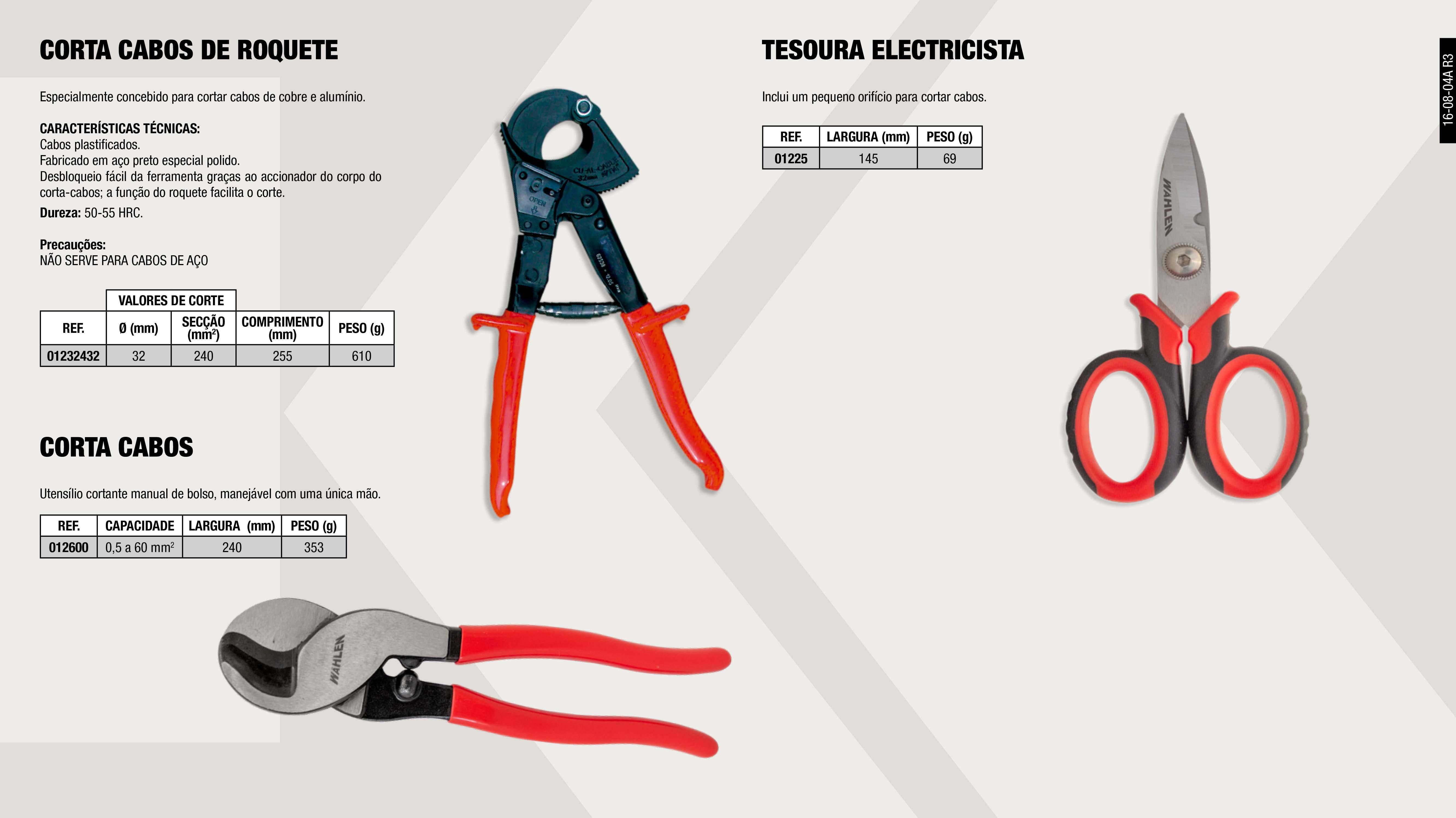 CORTA CABO ELECTRICO                                        ,  CORTA CABOS DE ROQUETE                                      ,  DESCARNA FIOS AUTOMATICO 0,2 6MM                            ,  TESOURA                                                     ,